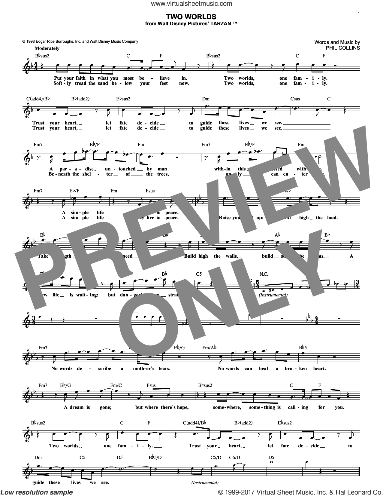 Two Worlds sheet music for voice and other instruments (fake book) by Phil Collins, intermediate skill level
