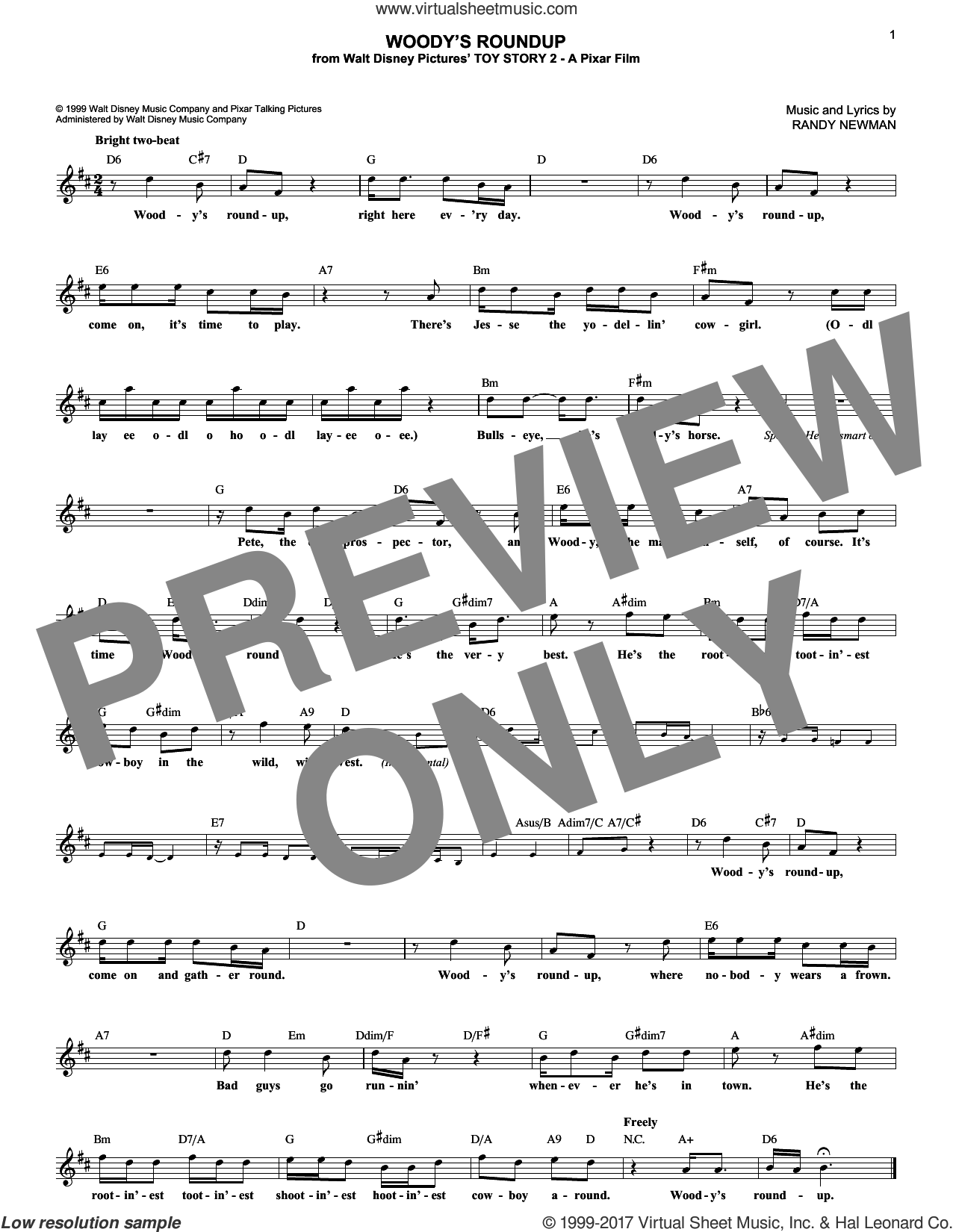 Woody's Roundup sheet music for voice and other instruments (fake book) by Randy Newman, intermediate voice. Score Image Preview.