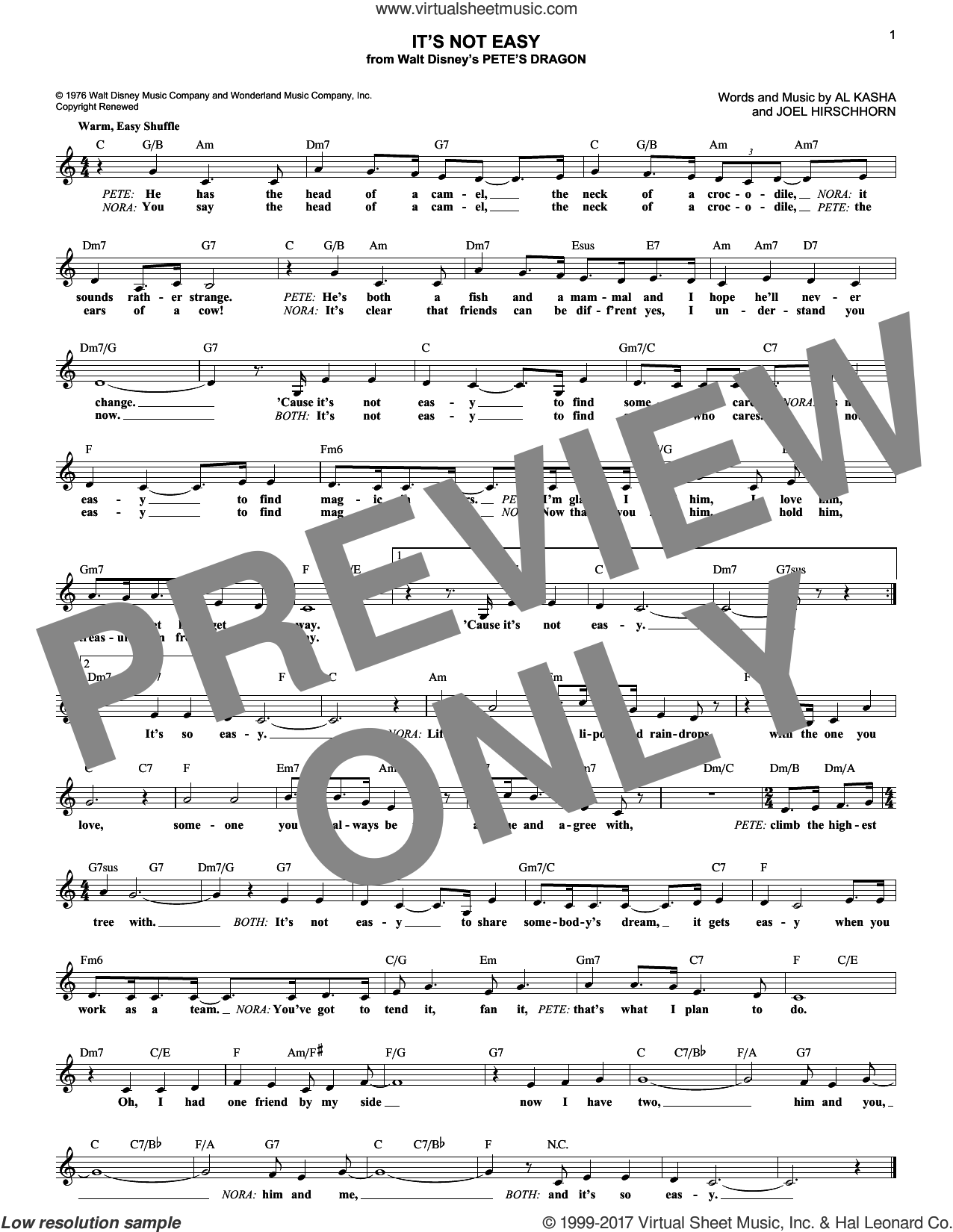 It's Not Easy sheet music for voice and other instruments (fake book) by Joel Hirschhorn and Al Kasha, intermediate. Score Image Preview.