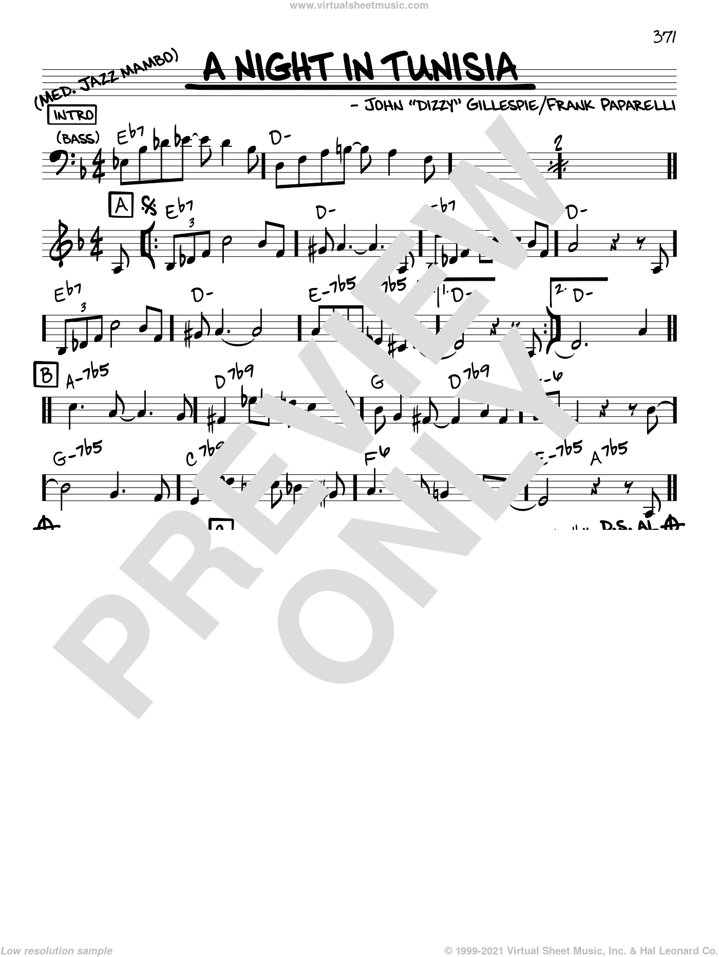 A Night In Tunisia sheet music for voice and other instruments (in C) by Dizzy Gillespie and Frank Paparelli, intermediate skill level