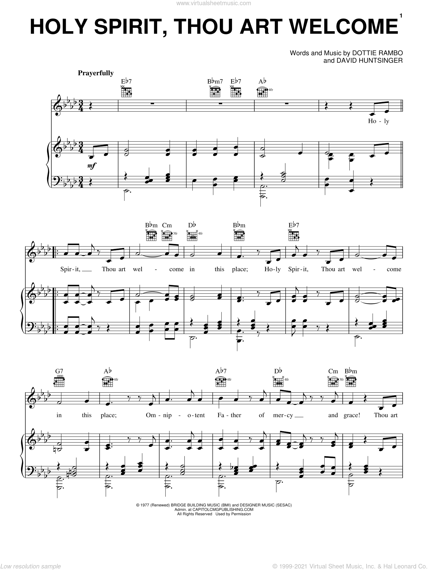 Holy Spirit, Thou Art Welcome sheet music for voice, piano or guitar by David Huntsinger and Dottie Rambo. Score Image Preview.