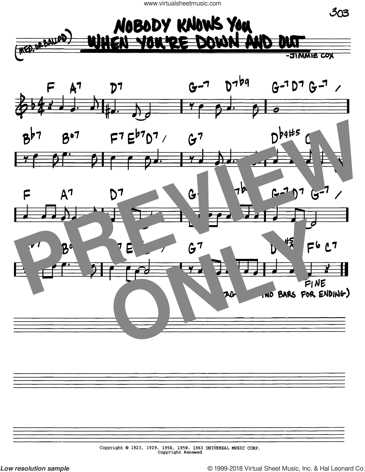 Nobody Knows You When You're Down And Out sheet music for voice and other instruments (in C) by Jimmie Cox, intermediate skill level