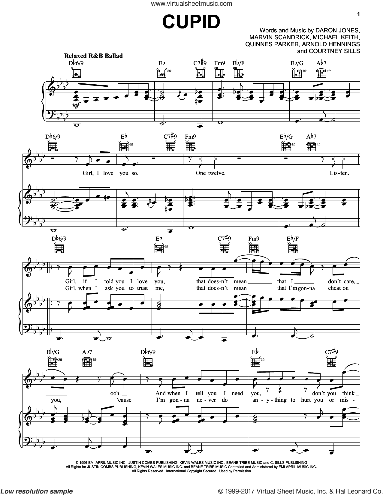 Cupid sheet music for voice, piano or guitar by 112, Arnold Hennings, Courtney Sills, Daron Jones, Marvin Scandrick, Michael Keith and Quinnes Parker, intermediate