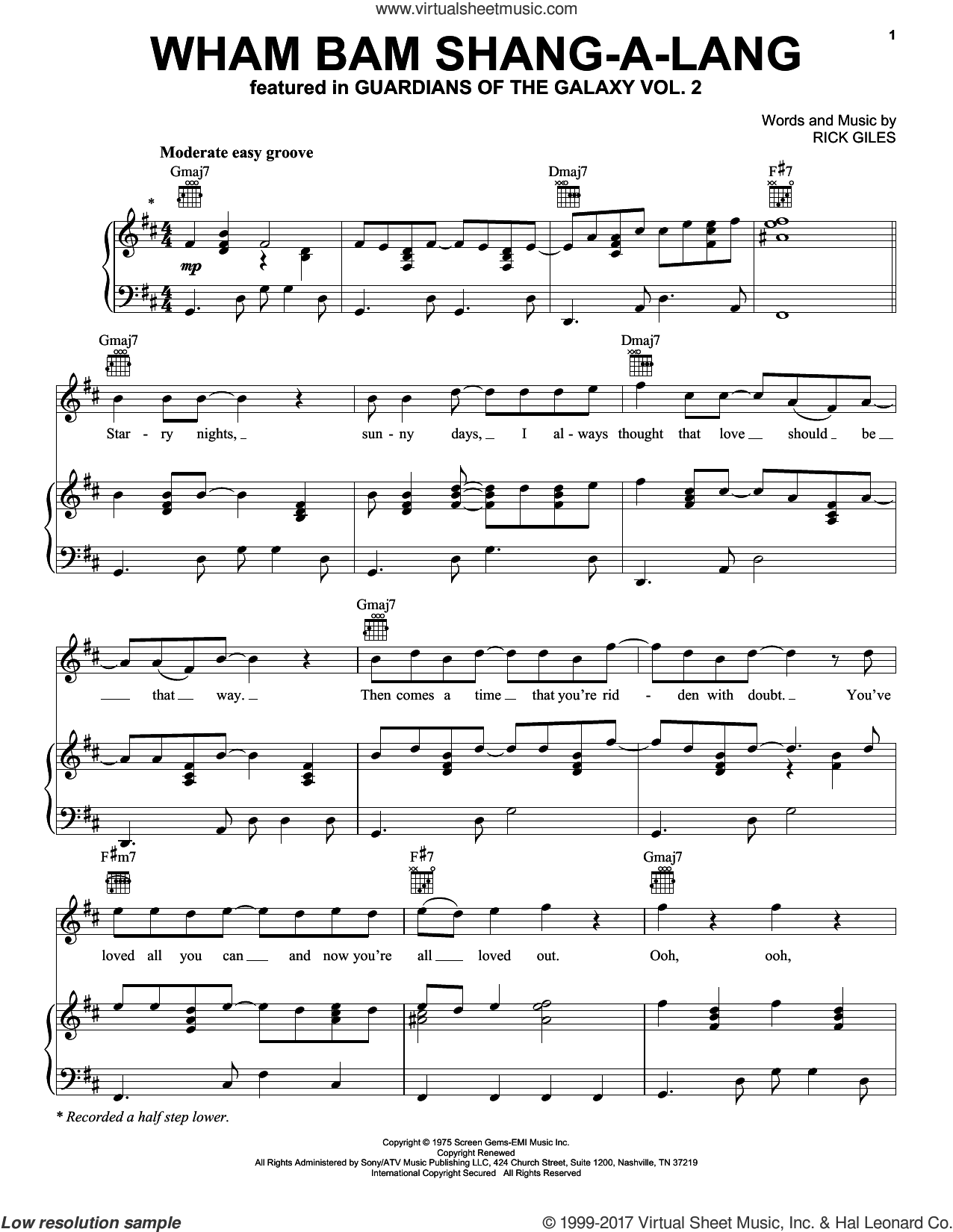 Wham Bam Shang-A-Lang sheet music for voice, piano or guitar by Rick Giles, intermediate skill level