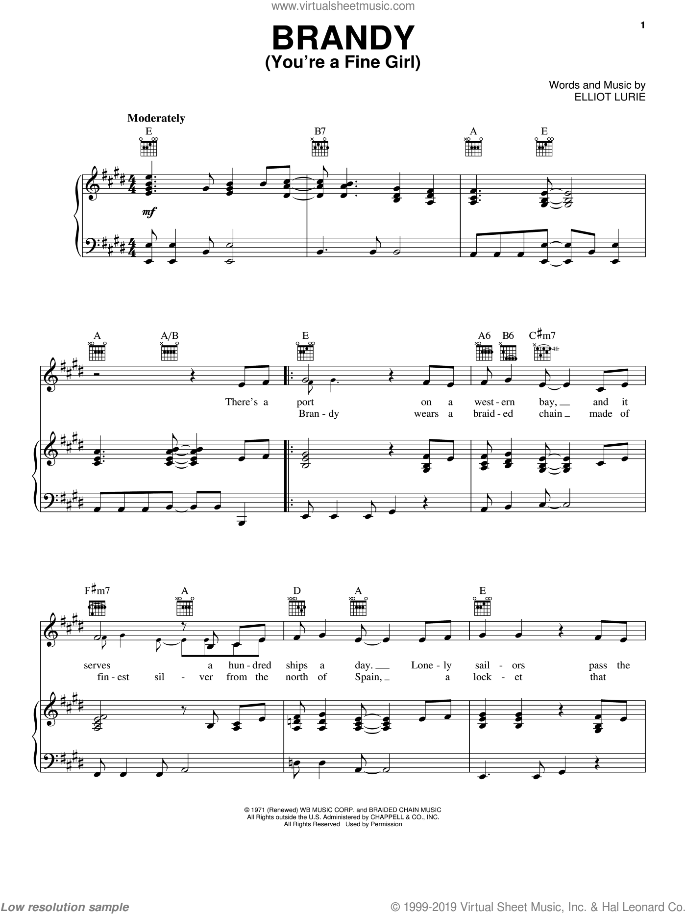 Brandy (You're A Fine Girl) sheet music for voice, piano or guitar by Looking Glass and Elliot Lurie, intermediate skill level