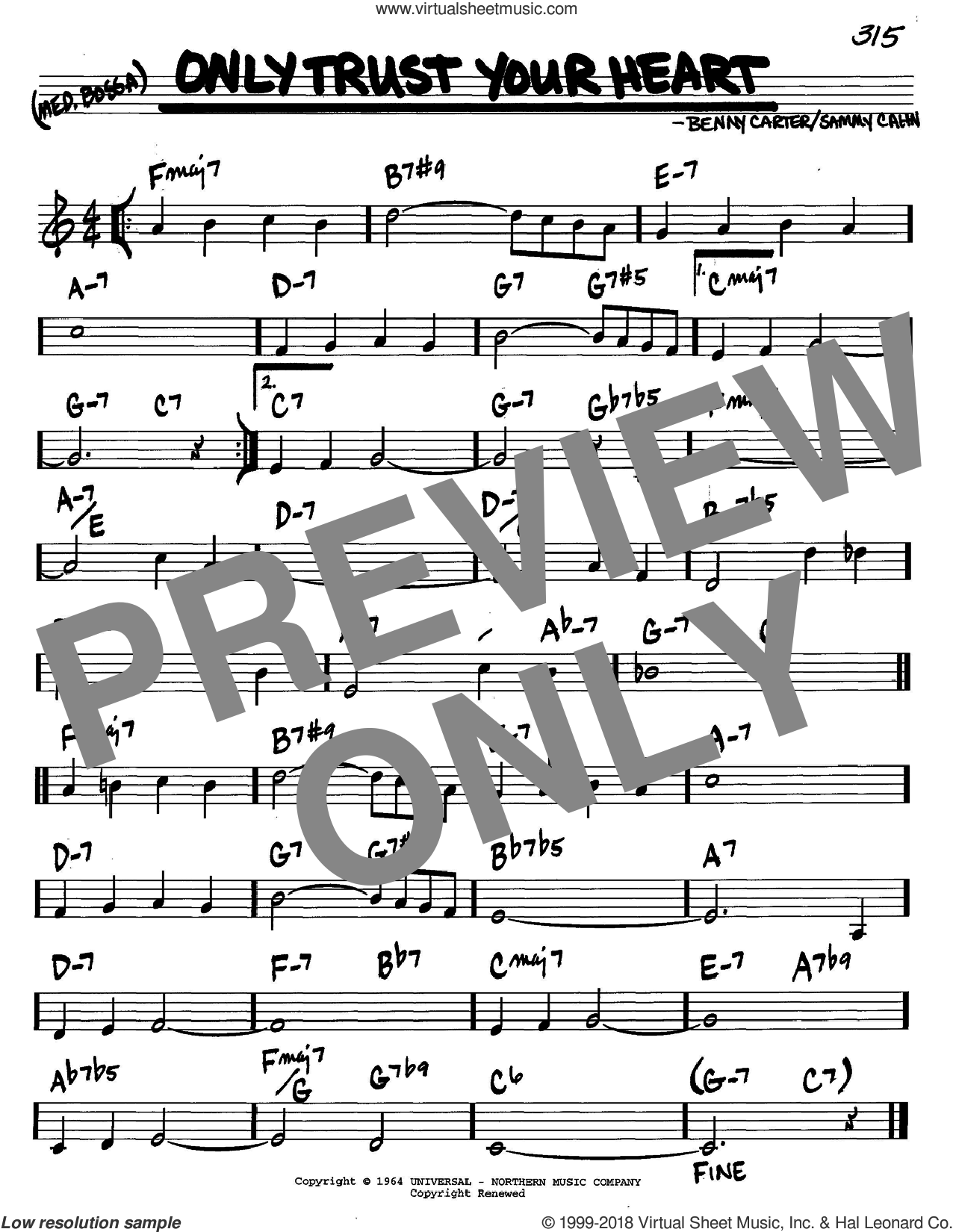 Only Trust Your Heart sheet music for voice and other instruments (C) by Sammy Cahn and Benny Carter, intermediate voice. Score Image Preview.