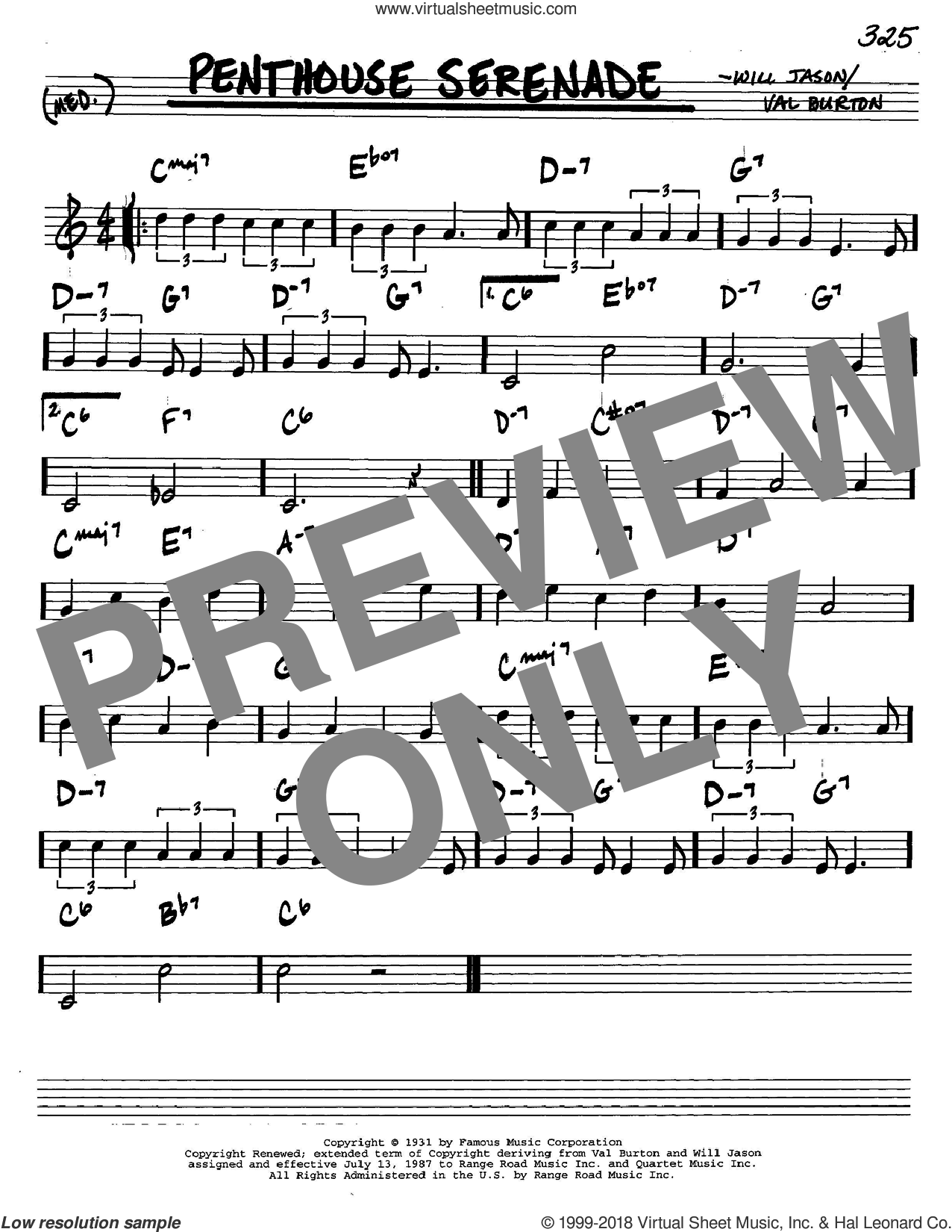 Penthouse Serenade sheet music for voice and other instruments (in C) by Nat King Cole, Val Burton and Will Jason, intermediate skill level