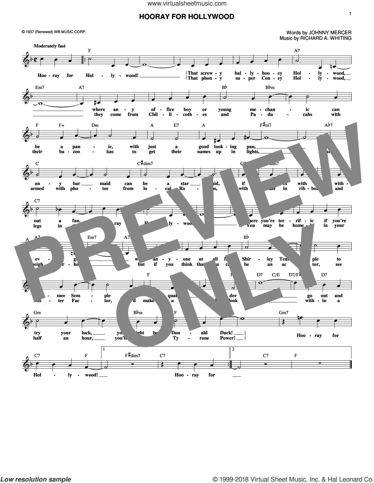 Hooray For Hollywood sheet music for voice and other instruments (fake book) by Johnny Mercer and Richard A. Whiting, intermediate skill level