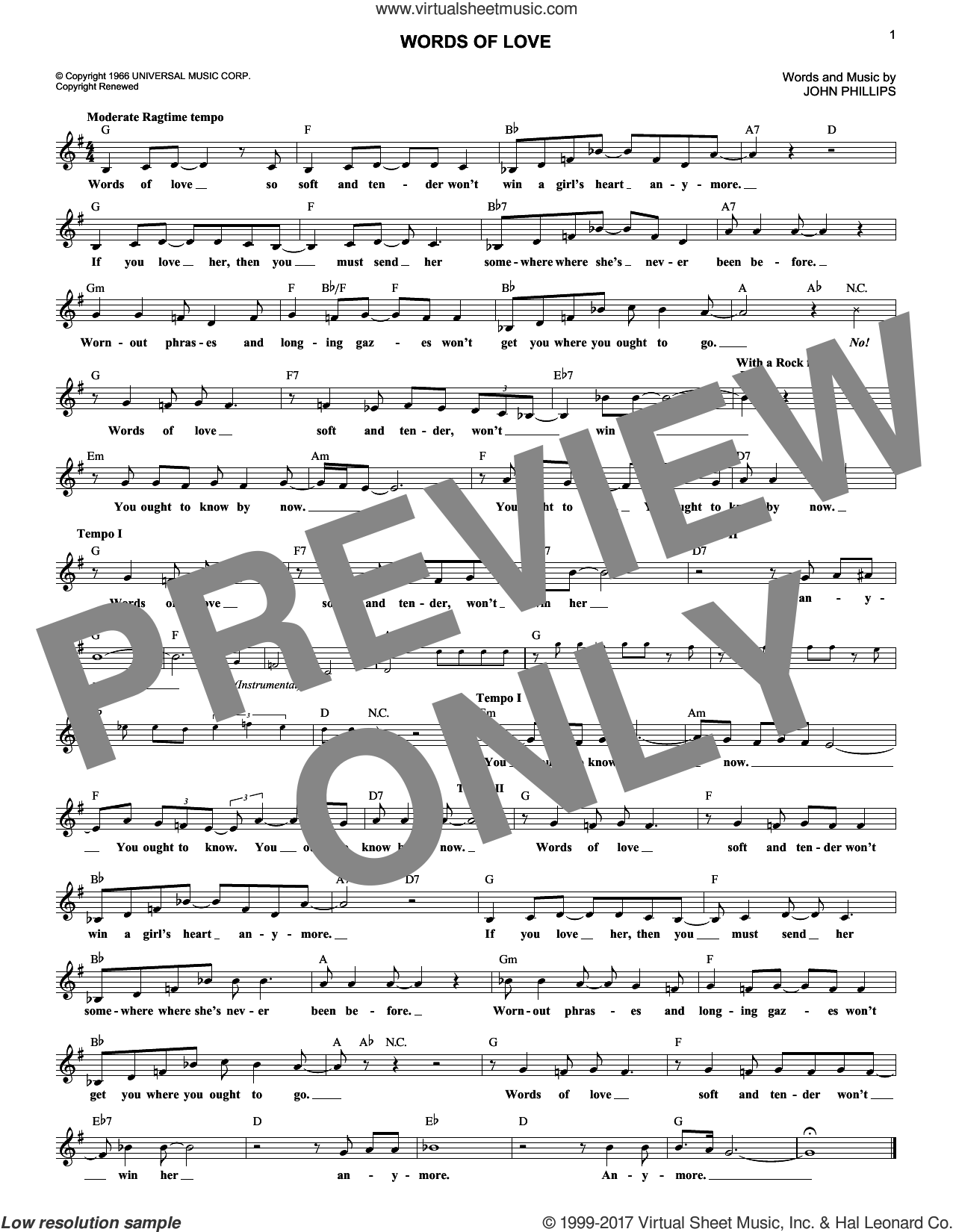 Words Of Love sheet music for voice and other instruments (fake book) by The Mamas & The Papas and John Phillips, intermediate skill level