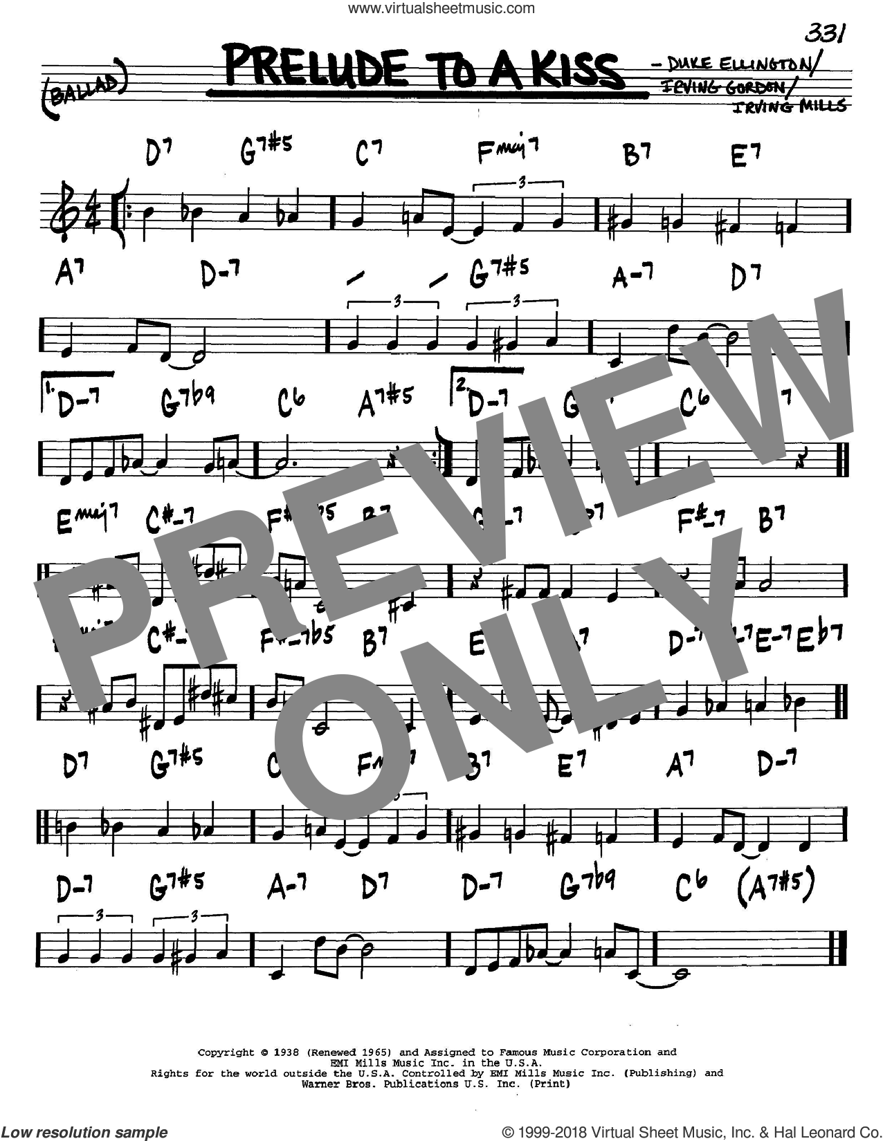 Prelude To A Kiss sheet music for voice and other instruments (C) by Duke Ellington, Irving Gordon and Irving Mills. Score Image Preview.