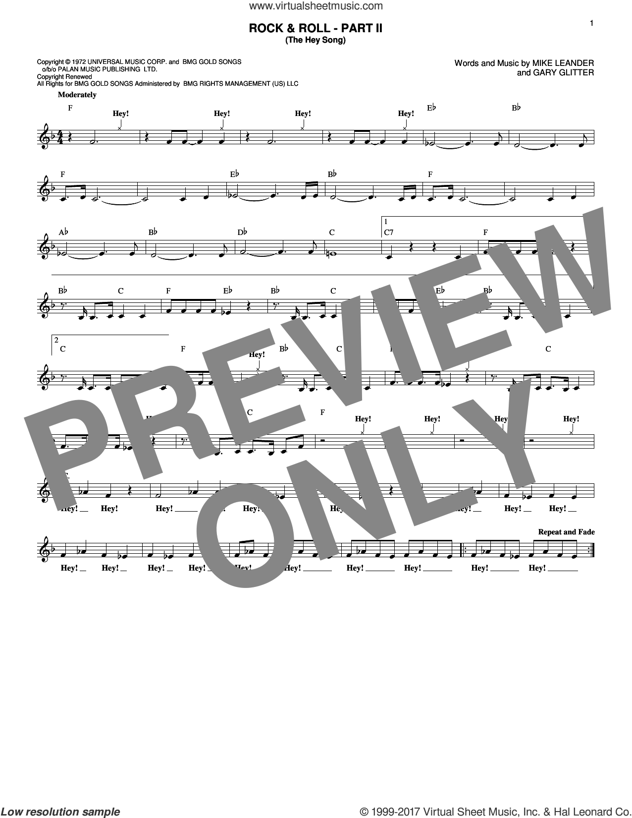 Rock and Roll - Part II (The Hey Song) sheet music for voice and other instruments (fake book) by Gary Glitter and Mike Leander, intermediate skill level