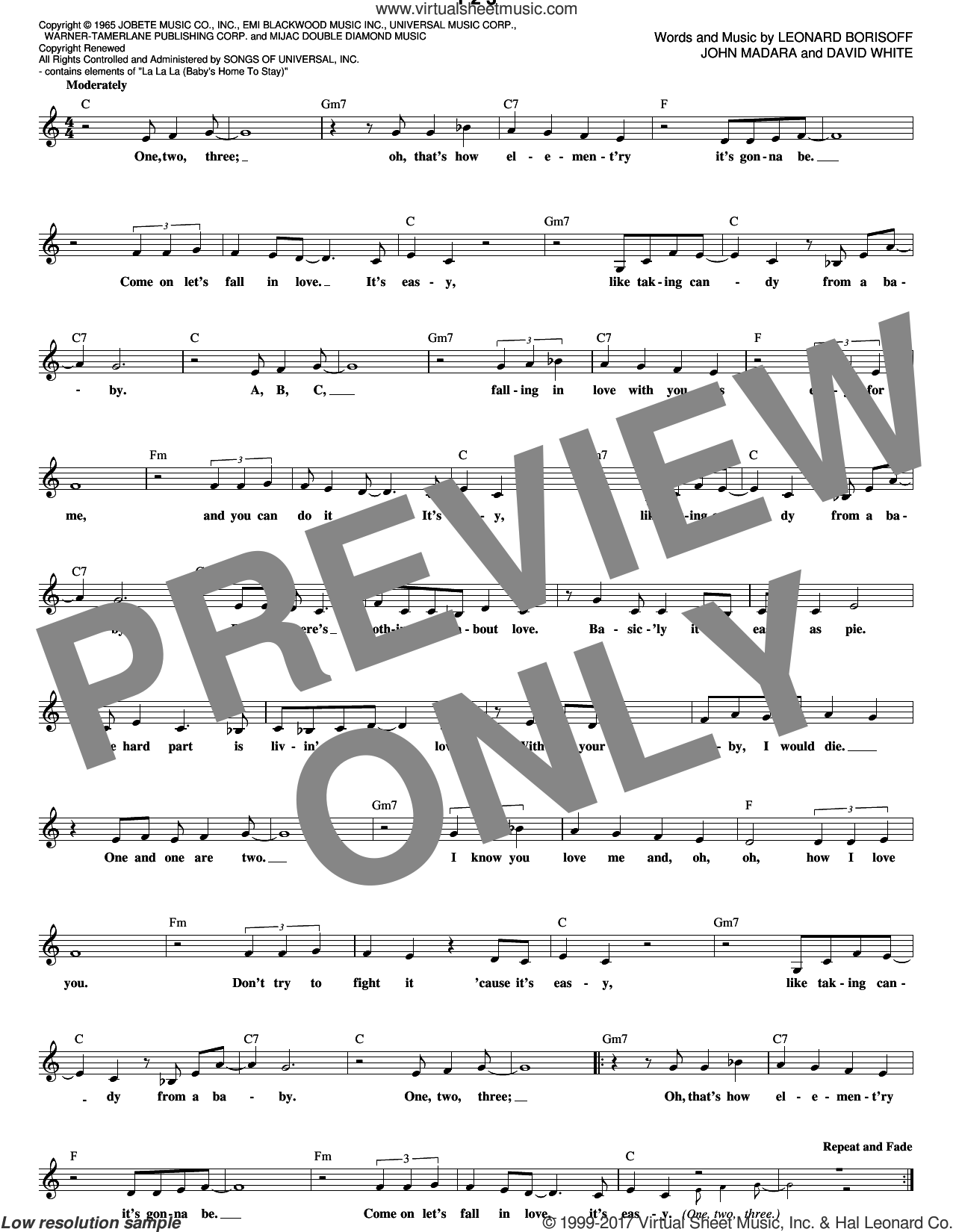 1 2 3 sheet music for voice and other instruments (fake book) by Len Barry, Brian Holland, David White, Edward Holland, Jr., John Madara, Lamont Dozier and Leonard Borisoff, intermediate skill level