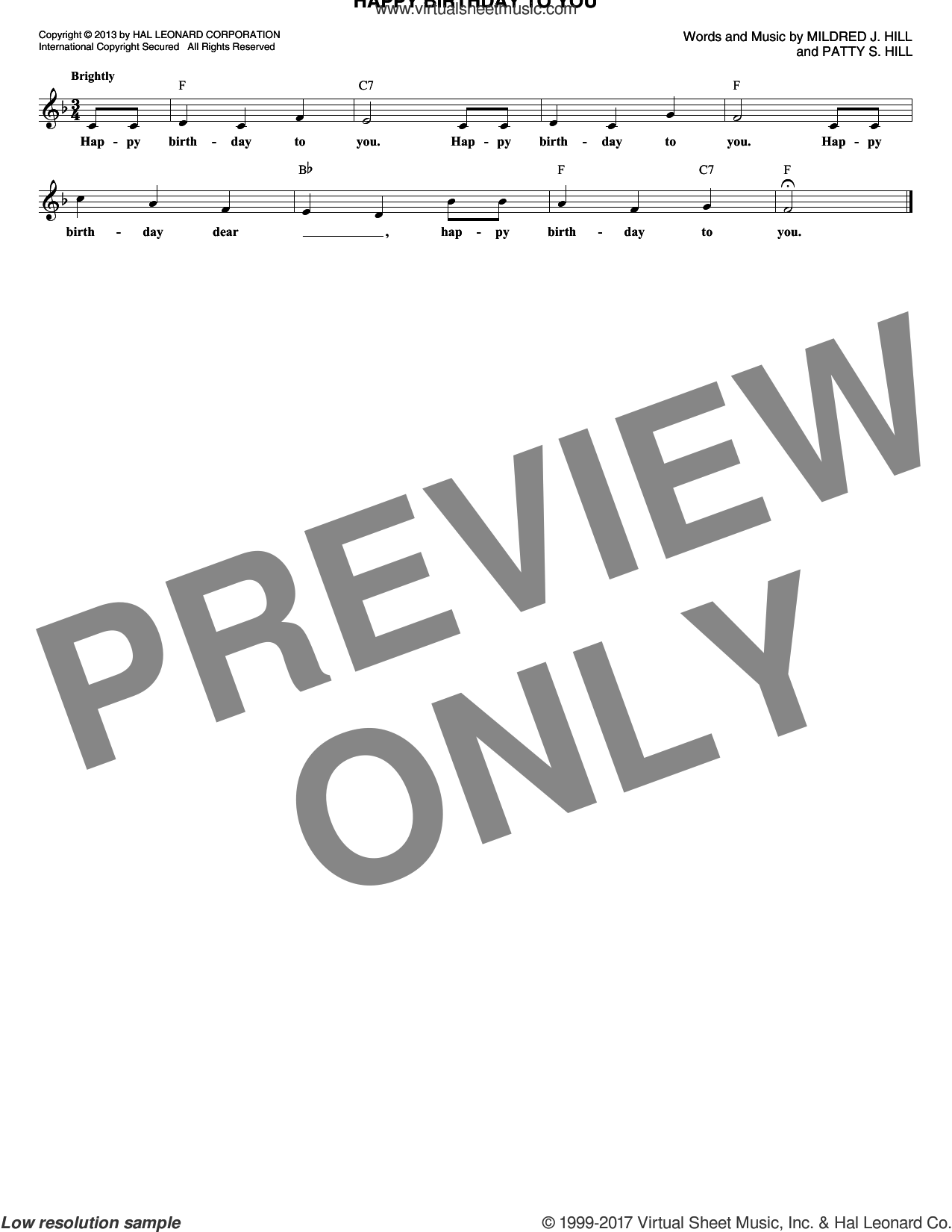 Happy Birthday To You sheet music for voice and other instruments (fake book) by Mildred J. Hill and Patty Smith Hill, intermediate voice. Score Image Preview.
