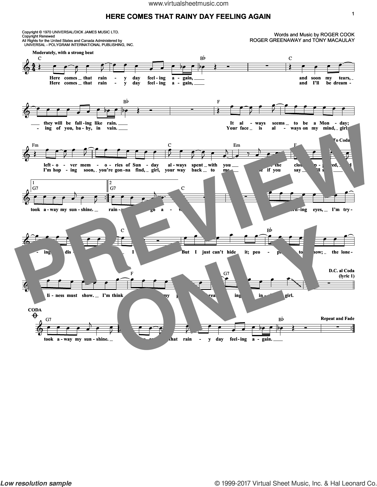 Here Comes That Rainy Day Feeling Again sheet music for voice and other instruments (fake book) by Roger Cook, Roger Greenaway and Tony MacAuley, intermediate skill level