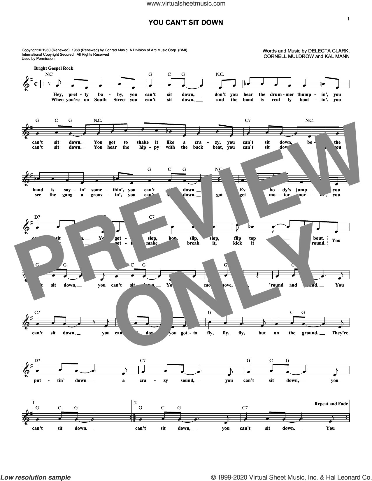 You Can't Sit Down sheet music for voice and other instruments (fake book) by The Dovells, Cornell Muldrow, Delecta Clark and Kal Mann, intermediate skill level