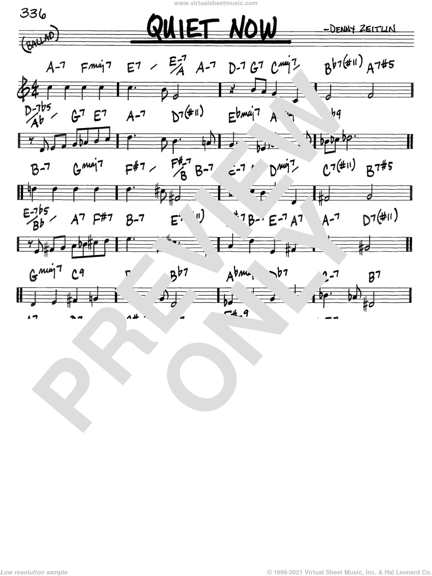 Quiet Now sheet music for voice and other instruments (C) by Denny Zeitlin