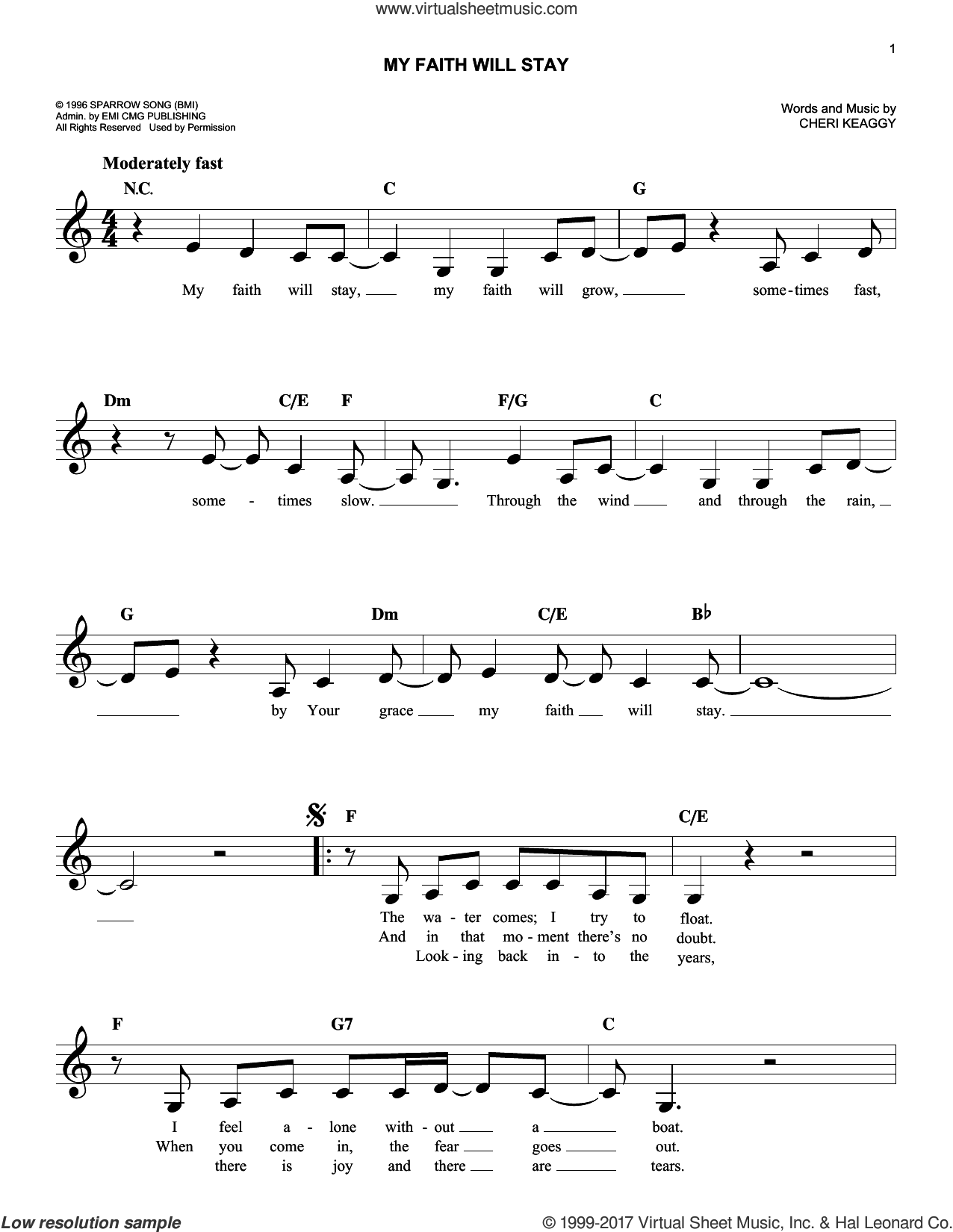 My Faith Will Stay sheet music for voice and other instruments (fake book) by Cheri Keaggy, intermediate skill level