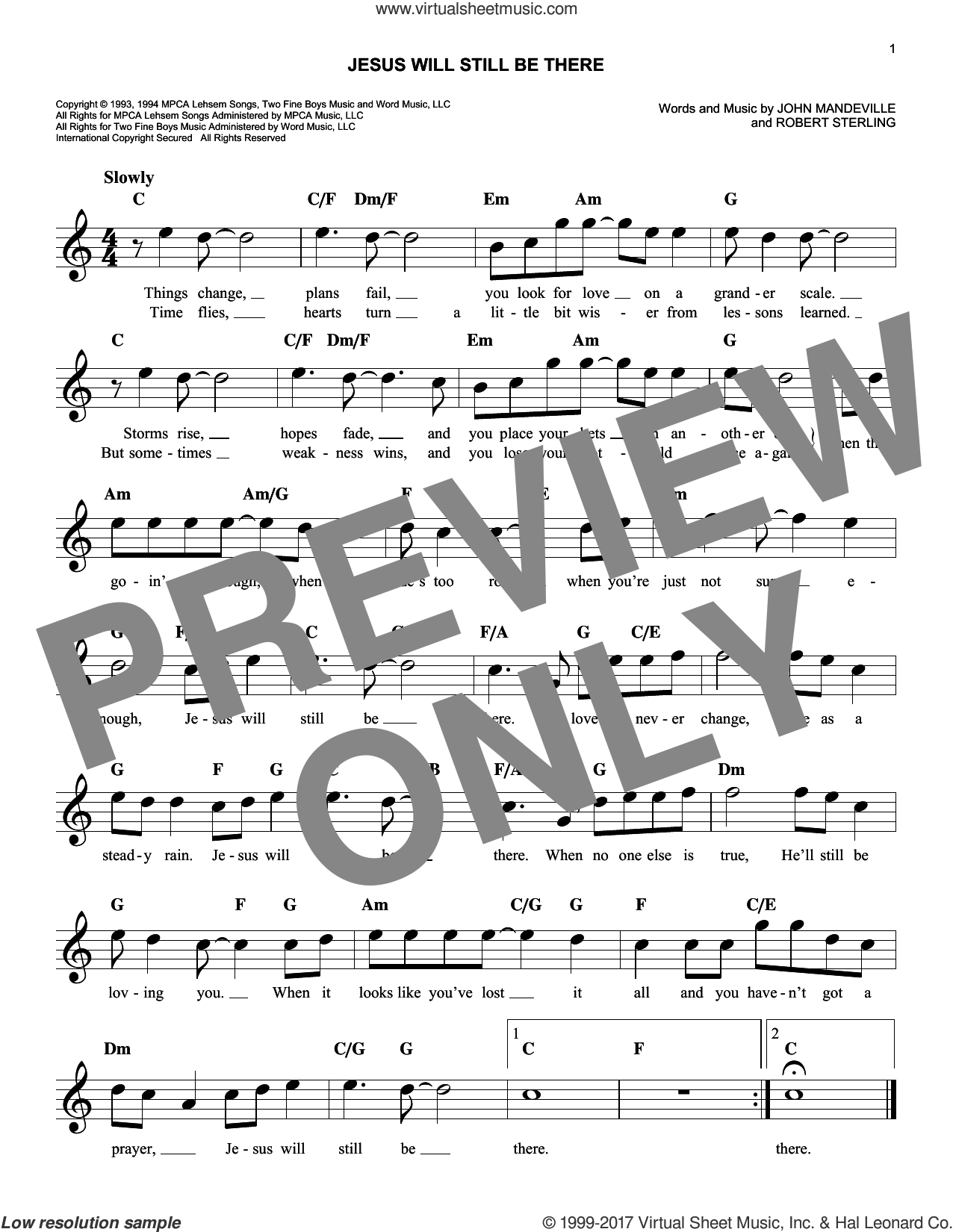 Jesus Will Still Be There sheet music for voice and other instruments (fake book) by Point Of Grace, John Mandeville and Robert Sterling, intermediate skill level
