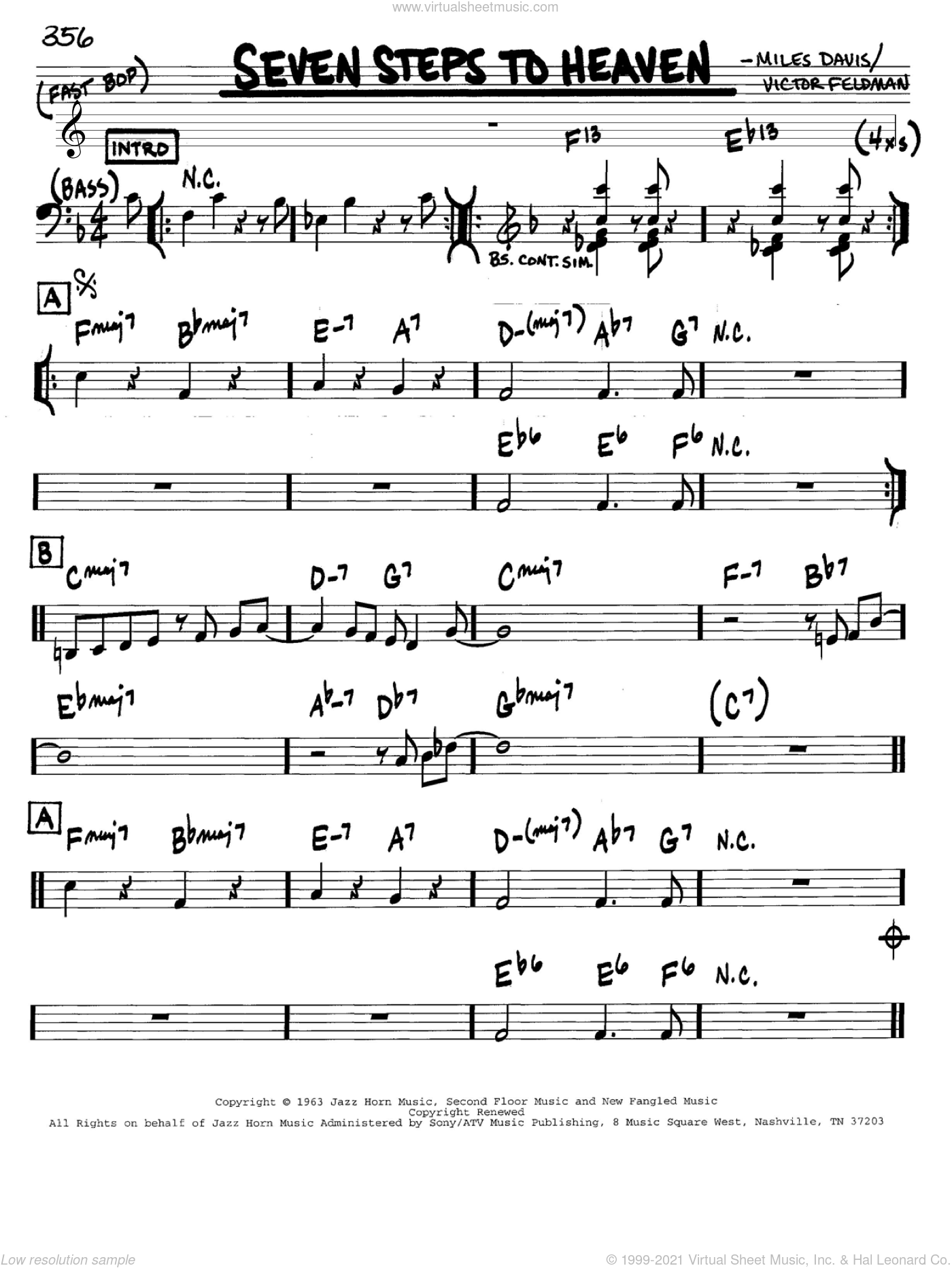 Seven Steps To Heaven sheet music for voice and other instruments (in C) by Miles Davis and Victor Feldman, intermediate skill level