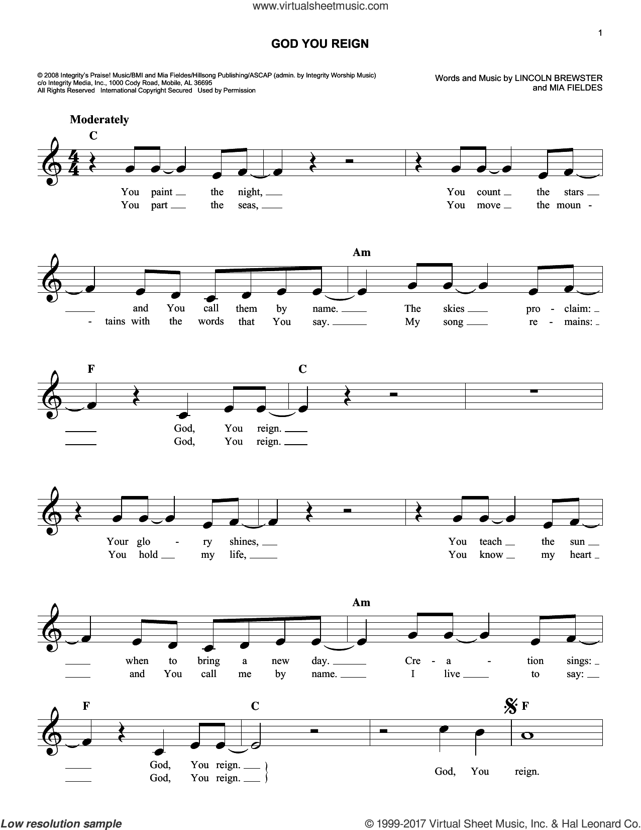 God You Reign sheet music for voice and other instruments (fake book) by Lincoln Brewster and Mia Fieldes, intermediate skill level