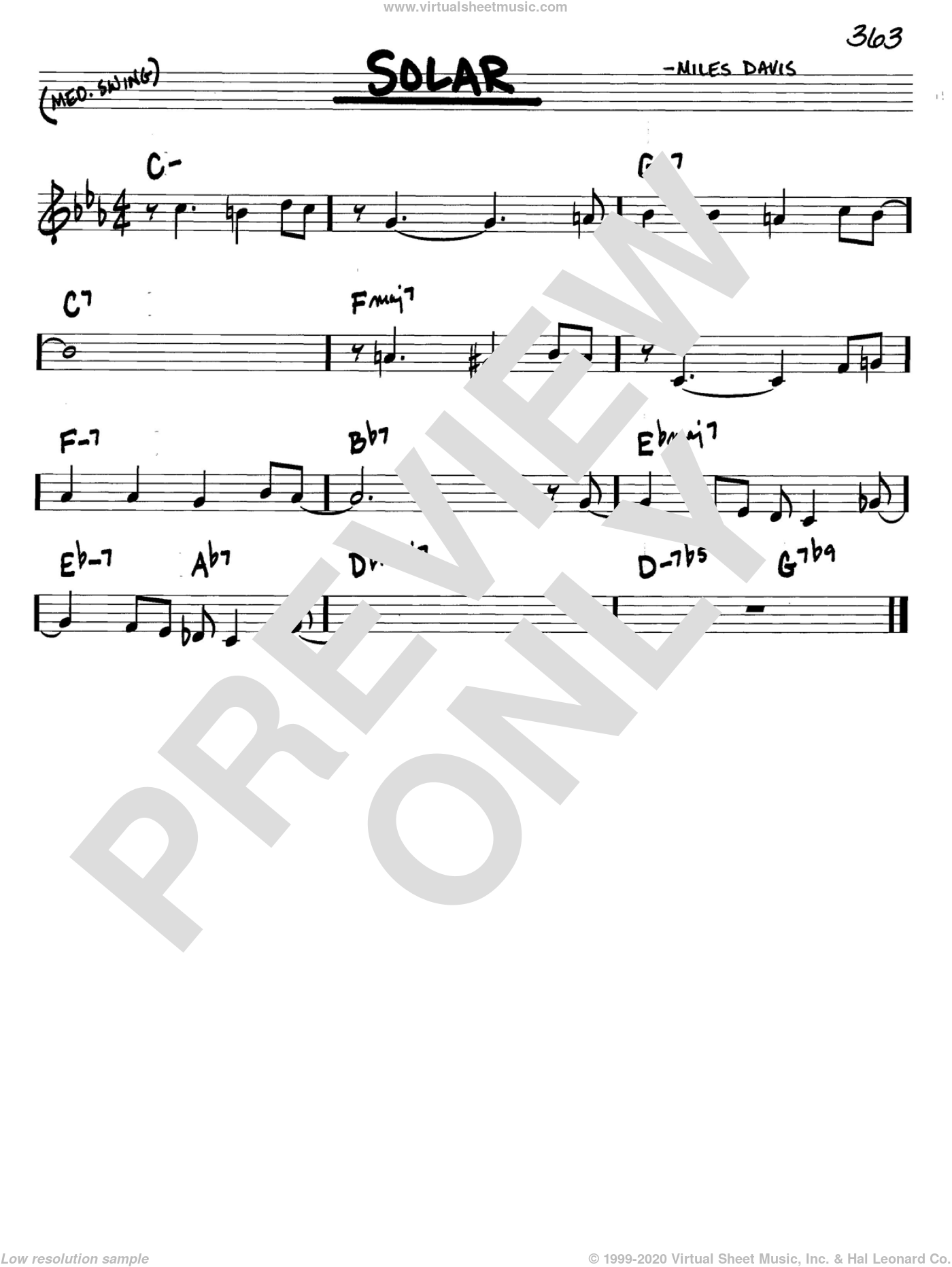 Solar sheet music for voice and other instruments (C) by Miles Davis. Score Image Preview.