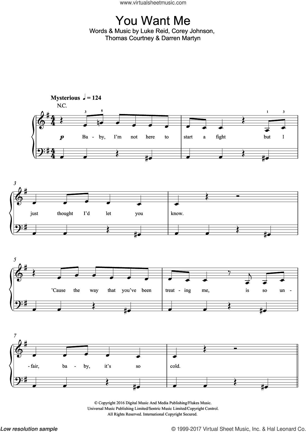 You Want Me (featuring Sadie Ama) sheet music for piano solo (beginners) by Tom Zanetti, Sadie Ama, Corey Johnson, Darren Martyn, Luke Reid and Thomas Courtney, beginner piano (beginners). Score Image Preview.