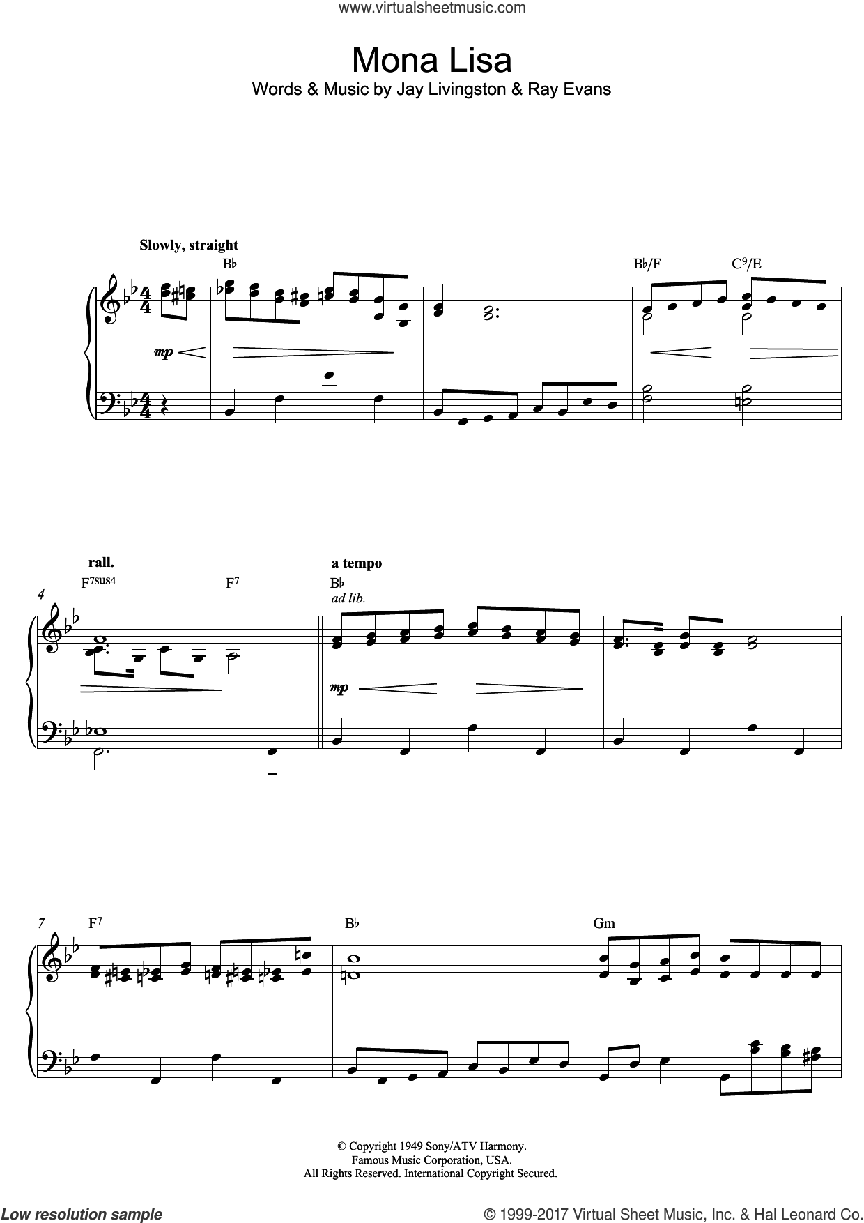 Mona Lisa, (intermediate) sheet music for piano solo by Nat King Cole, Jay Livingston and Ray Evans, intermediate skill level