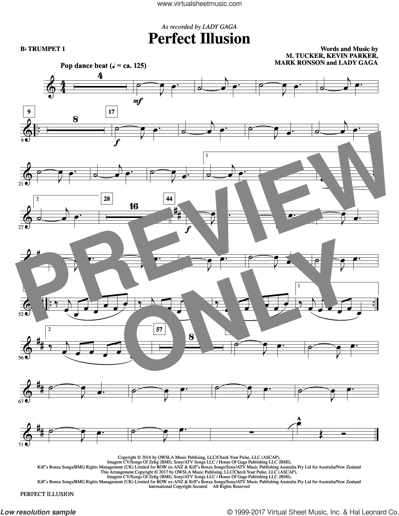 Perfect Illusion (complete set of parts) sheet music for orchestra/band by Mac Huff, Kevin Parker, Lady Gaga, Mark Ronson and Michael Tucker, intermediate skill level