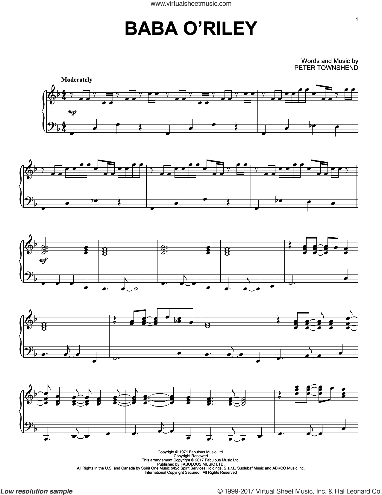 Baba O'Riley sheet music for piano solo by The Who and Pete Townshend. Score Image Preview.