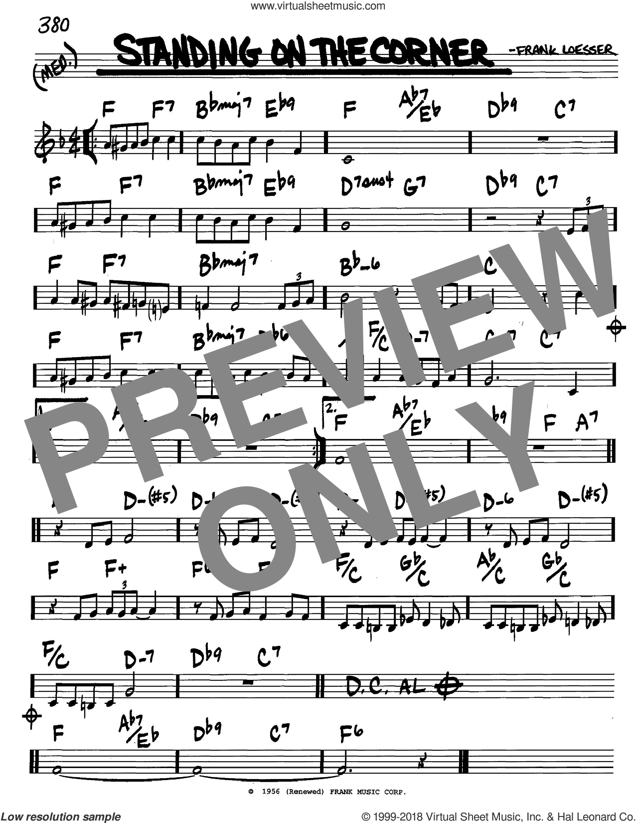 Standing On The Corner sheet music for voice and other instruments (in C) by The Four Lads and Frank Loesser, intermediate skill level