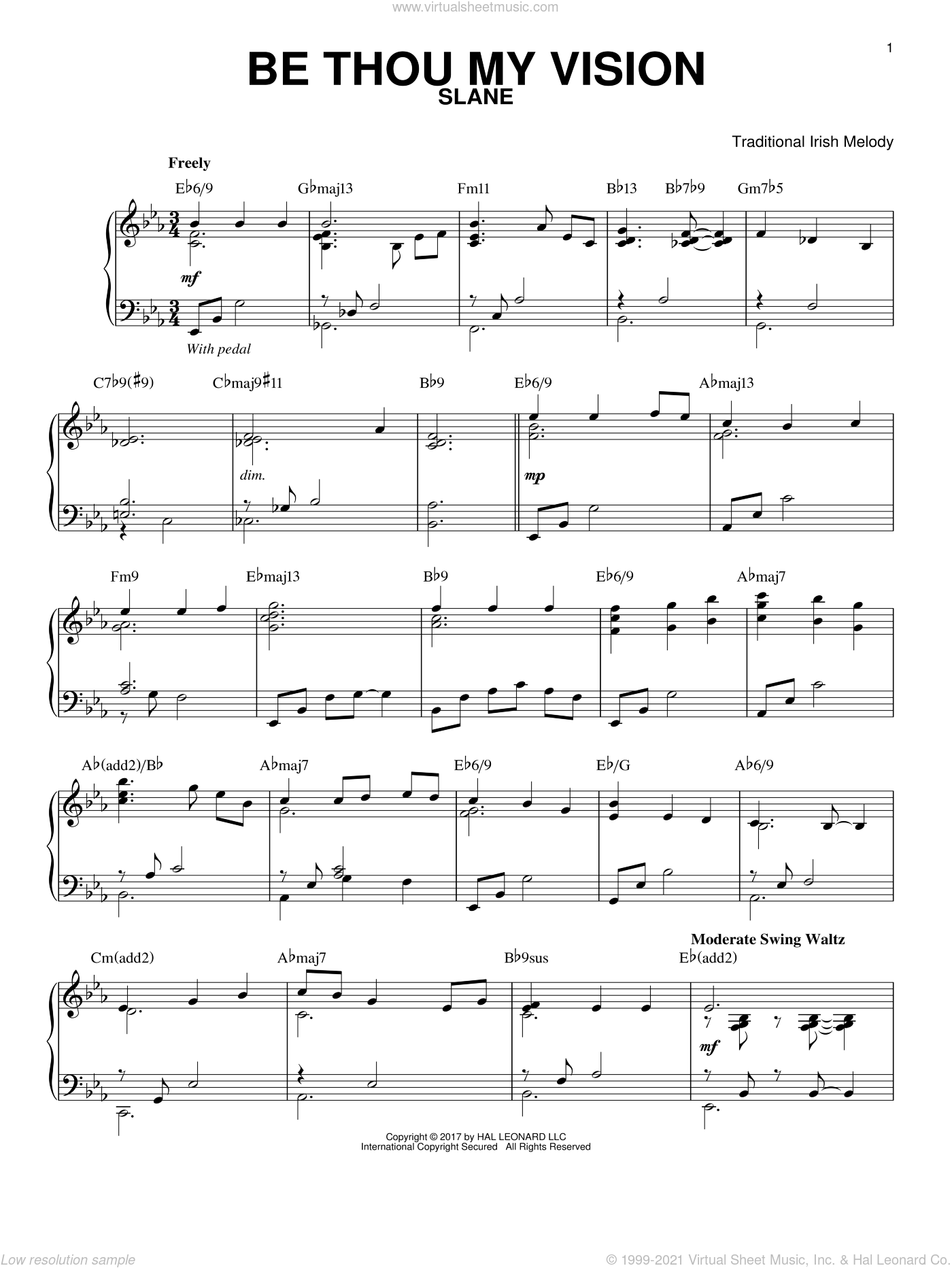 Be Thou My Vision, (intermediate) sheet music for piano solo by Traditional Irish and Translated by Mary E. Byrne, intermediate skill level
