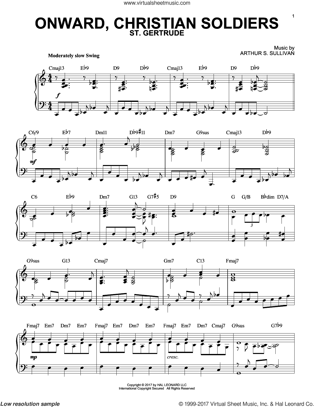 Onward, Christian Soldiers, (intermediate) sheet music for piano solo by Sabine Baring-Gould and Arthur Sullivan, intermediate skill level