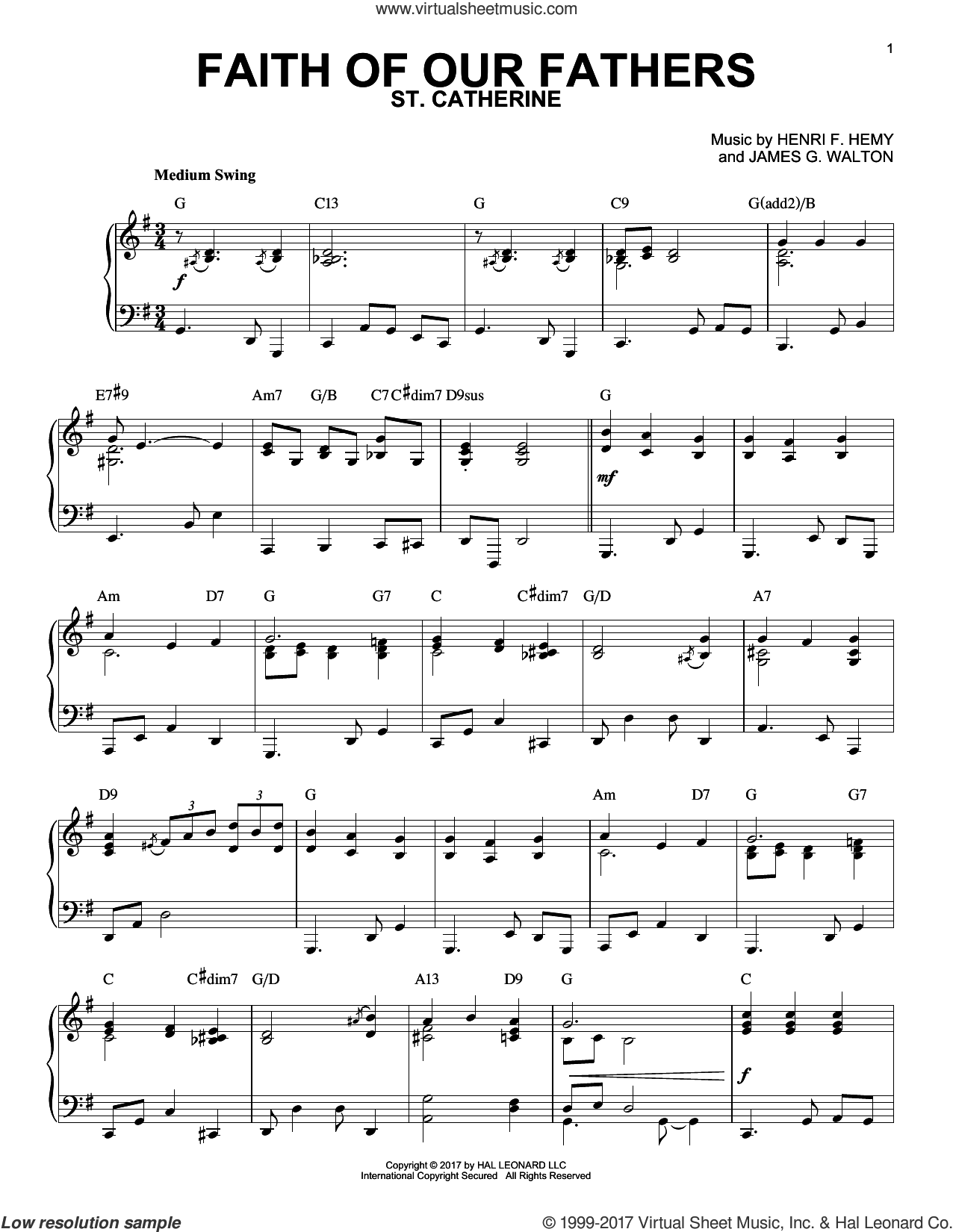 Faith Of Our Fathers sheet music for piano solo by Henri F. Hemy, Frederick William Faber and James G. Walton, intermediate skill level