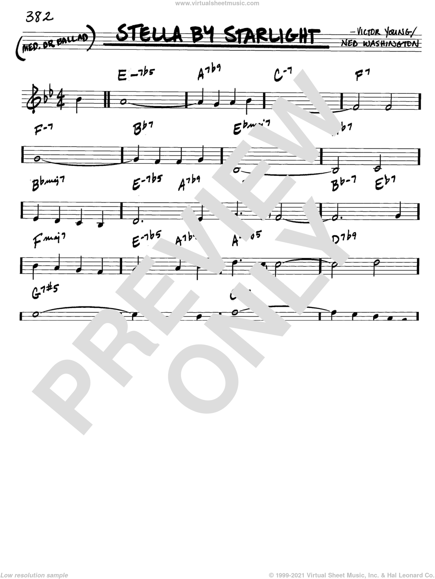 Stella By Starlight sheet music for voice and other instruments (C) by Victor Young and Ned Washington, intermediate voice. Score Image Preview.