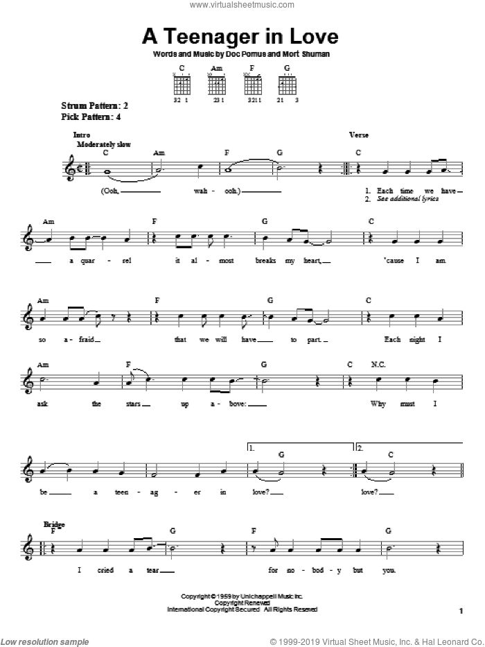 A Teenager In Love sheet music for guitar solo (chords) by Dion & The Belmonts, Doc Pomus, Jerome Pomus and Mort Shuman, easy guitar (chords)