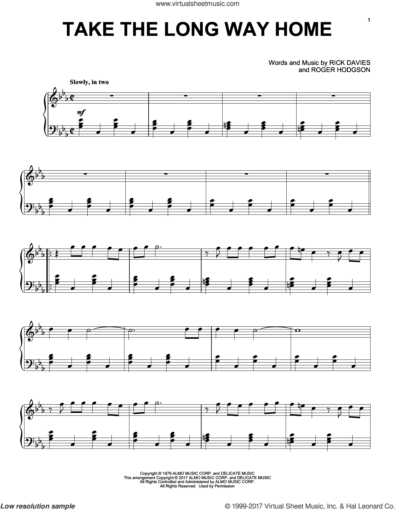 Take The Long Way Home sheet music for piano solo by Supertramp, Rick Davies and Roger Hodgson, intermediate skill level