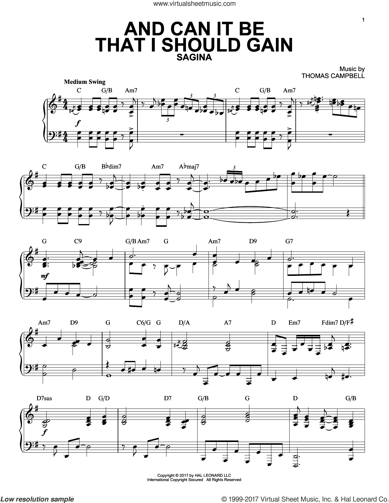 And Can It Be That I Should Gain [Jazz version] sheet music for piano solo by Charles Wesley and Thomas Campbell, intermediate skill level