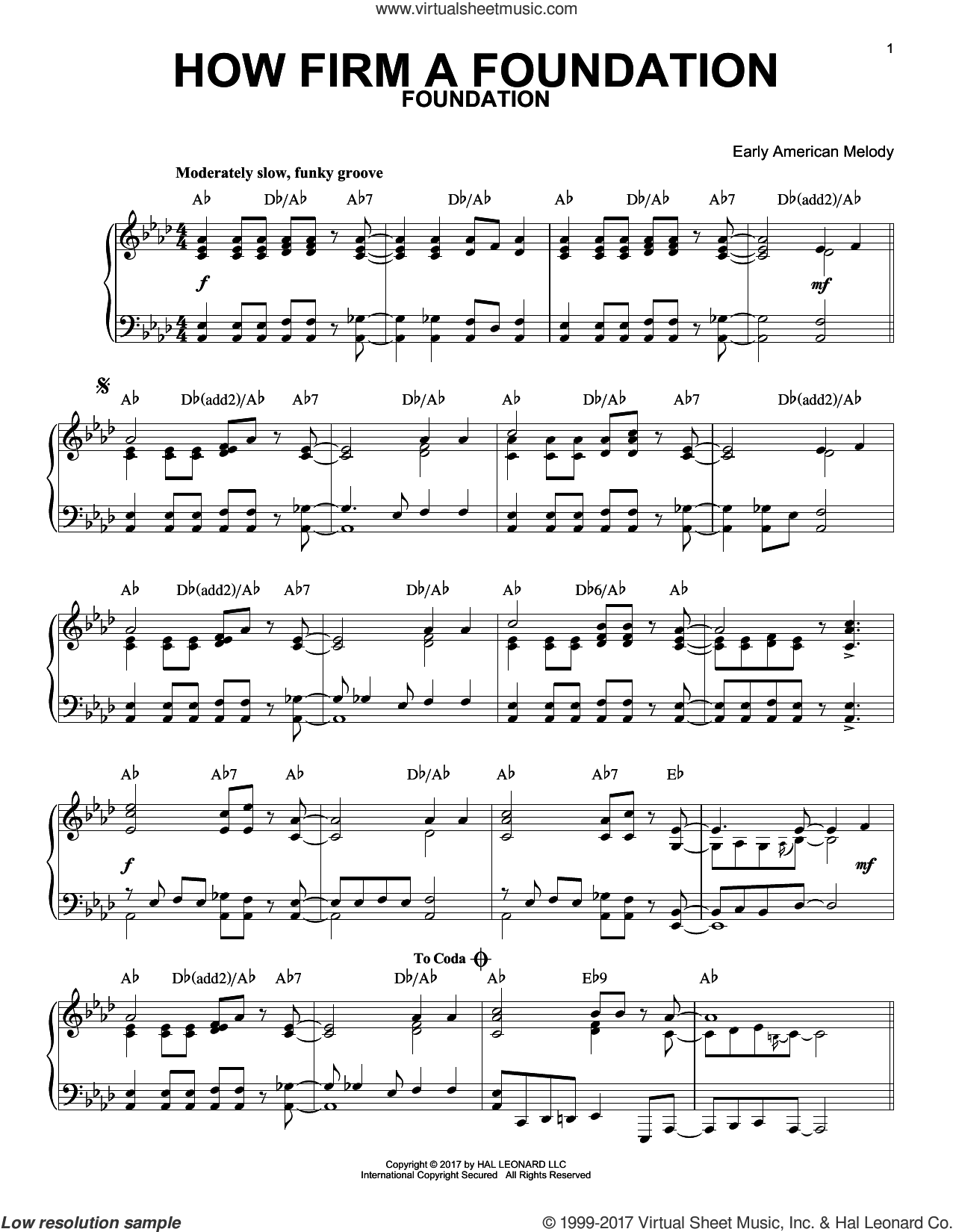 How Firm a Foundation [Jazz version] sheet music for piano solo by John Rippon and Miscellaneous, intermediate skill level