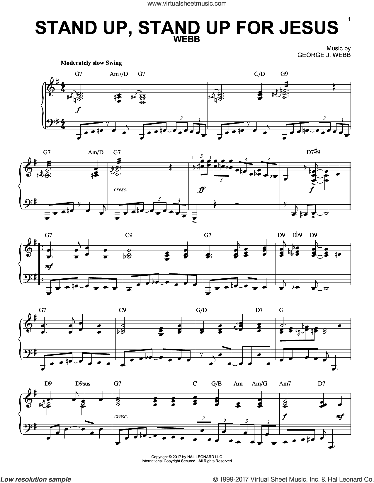 Stand Up, Stand Up For Jesus sheet music for piano solo by George Webb and George Duffield, Jr., intermediate skill level
