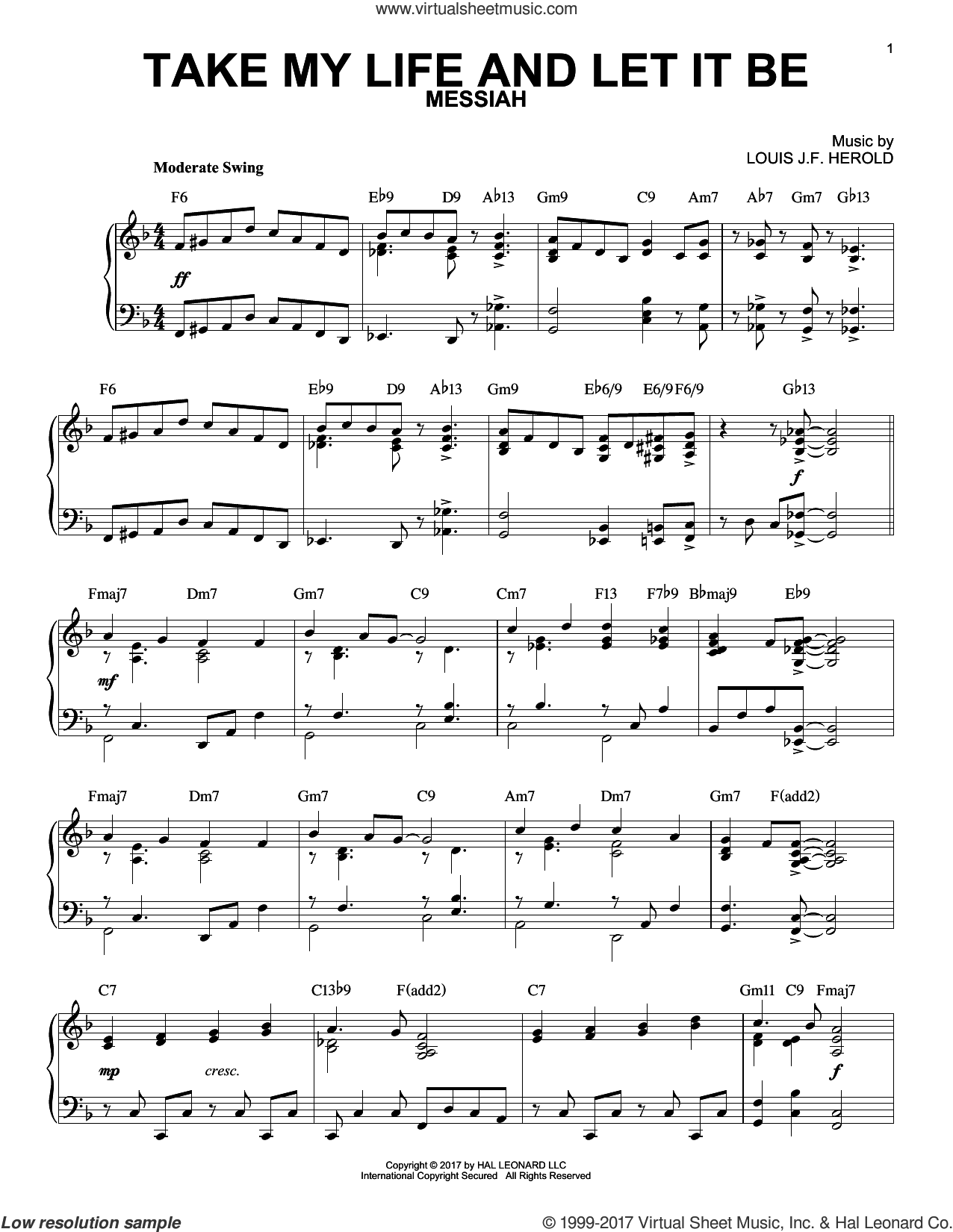 Take My Life And Let It Be sheet music for piano solo by George Kingsley, Frances R. Havergal and Louis J.F. Herold, intermediate skill level