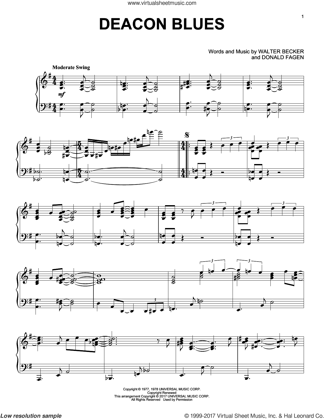 Deacon Blues sheet music for piano solo by Steely Dan, Donald Fagen and Walter Becker, intermediate skill level