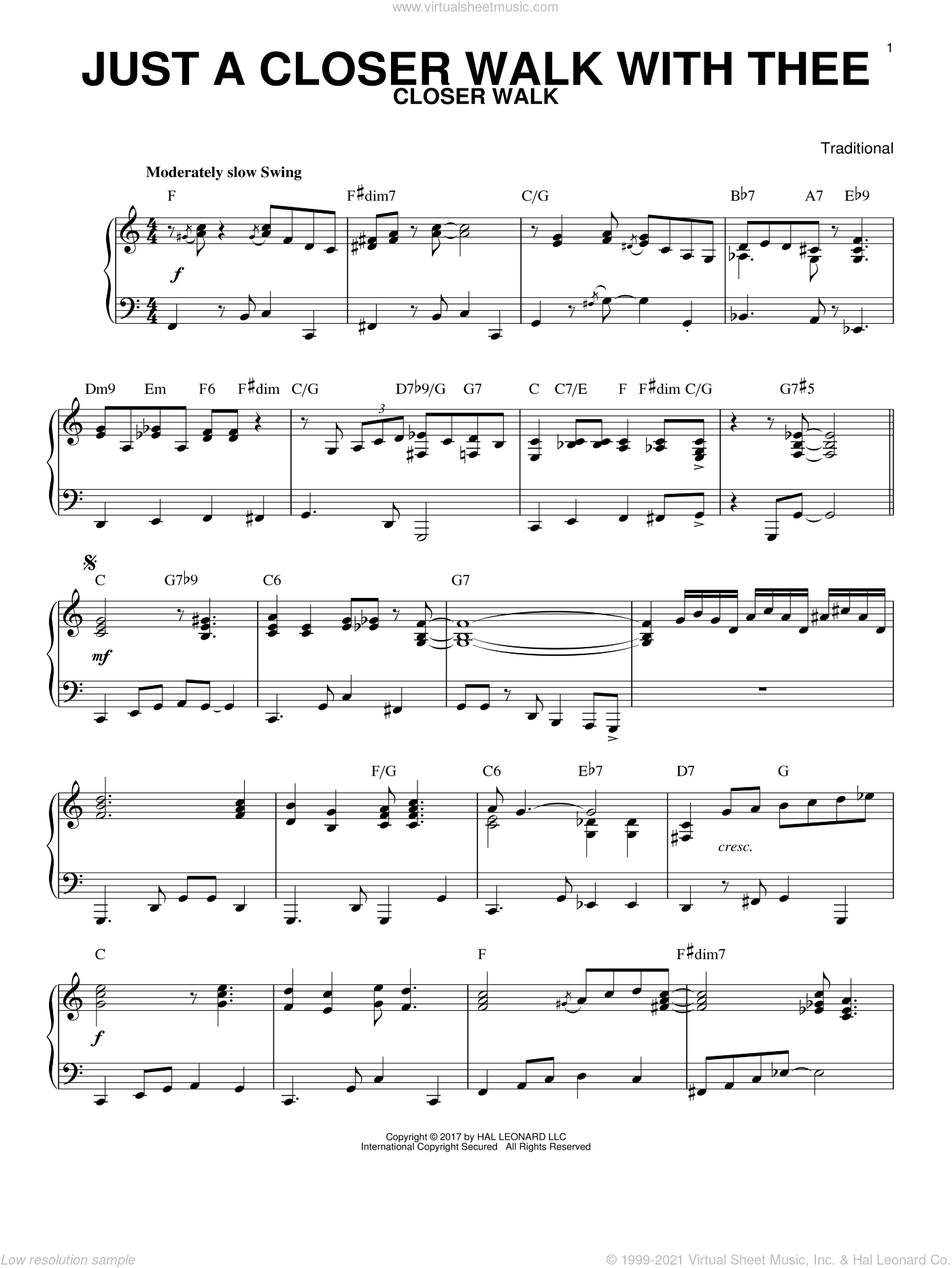 Just A Closer Walk With Thee, (intermediate) sheet music for piano solo by Kenneth Morris and Miscellaneous, intermediate skill level