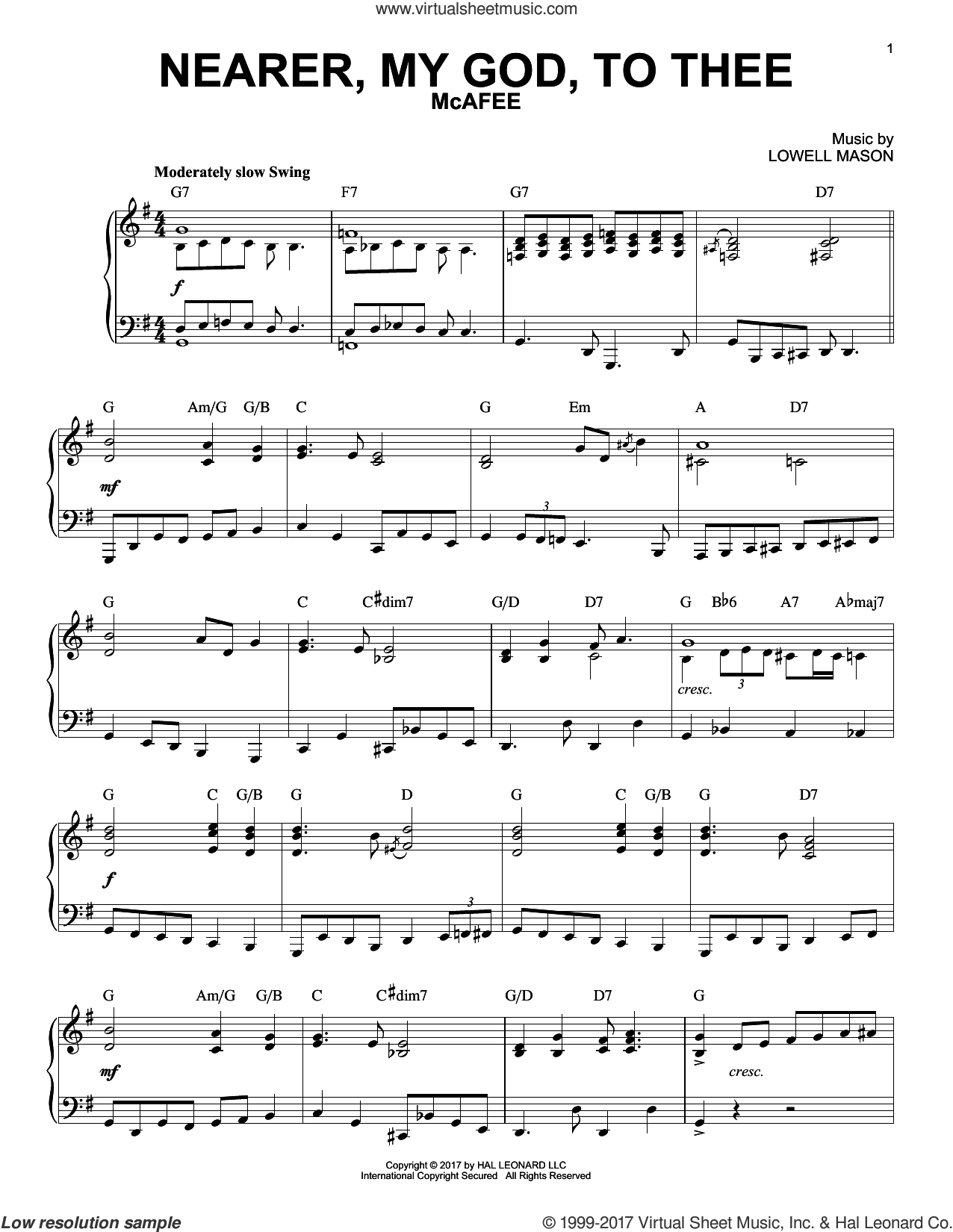 Nearer, My God, To Thee [Jazz version] sheet music for piano solo by Lowell Mason, Genesis 28:10-22 and Sarah F. Adams, intermediate skill level