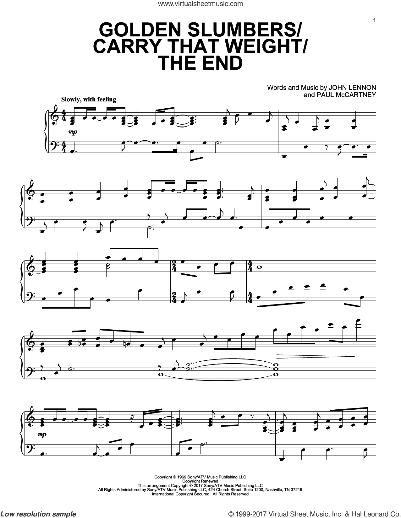 Golden Slumbers/Carry That Weight/The End sheet music for piano solo by Paul McCartney and John Lennon. Score Image Preview.