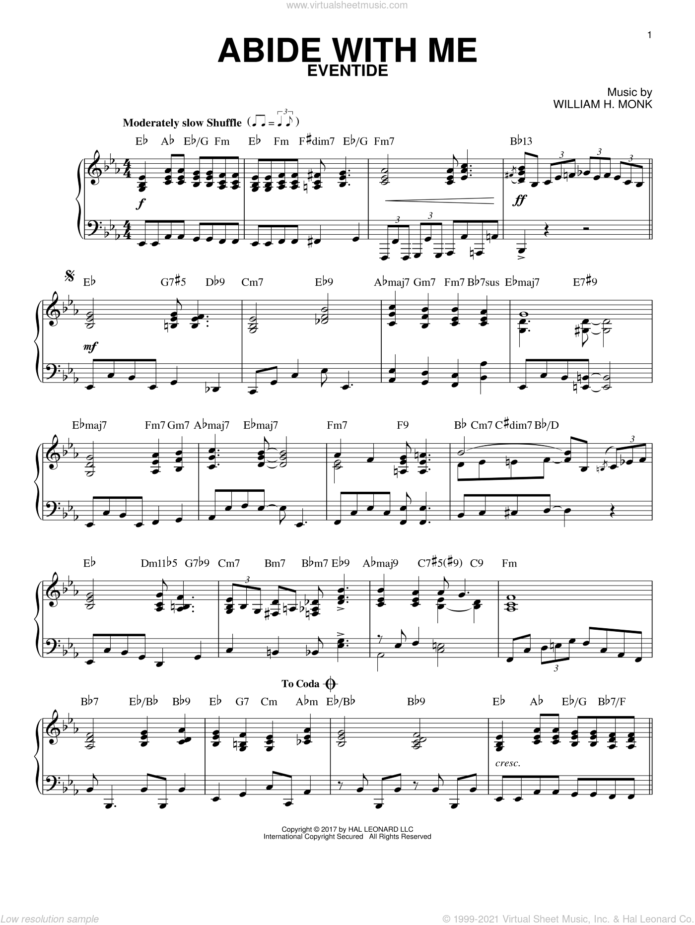 Abide With Me sheet music for piano solo by William Henry Monk and Henry F. Lyte, intermediate skill level