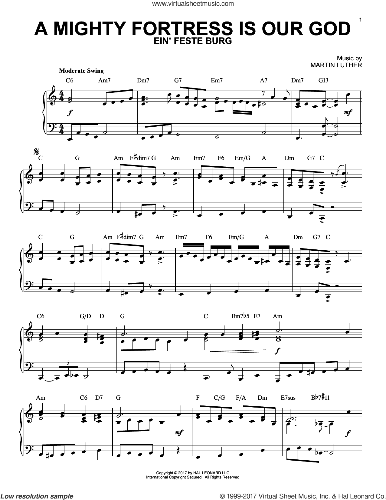 A Mighty Fortress Is Our God sheet music for piano solo by Frederick H. Hedge, Martin Luther and Miscellaneous, intermediate skill level