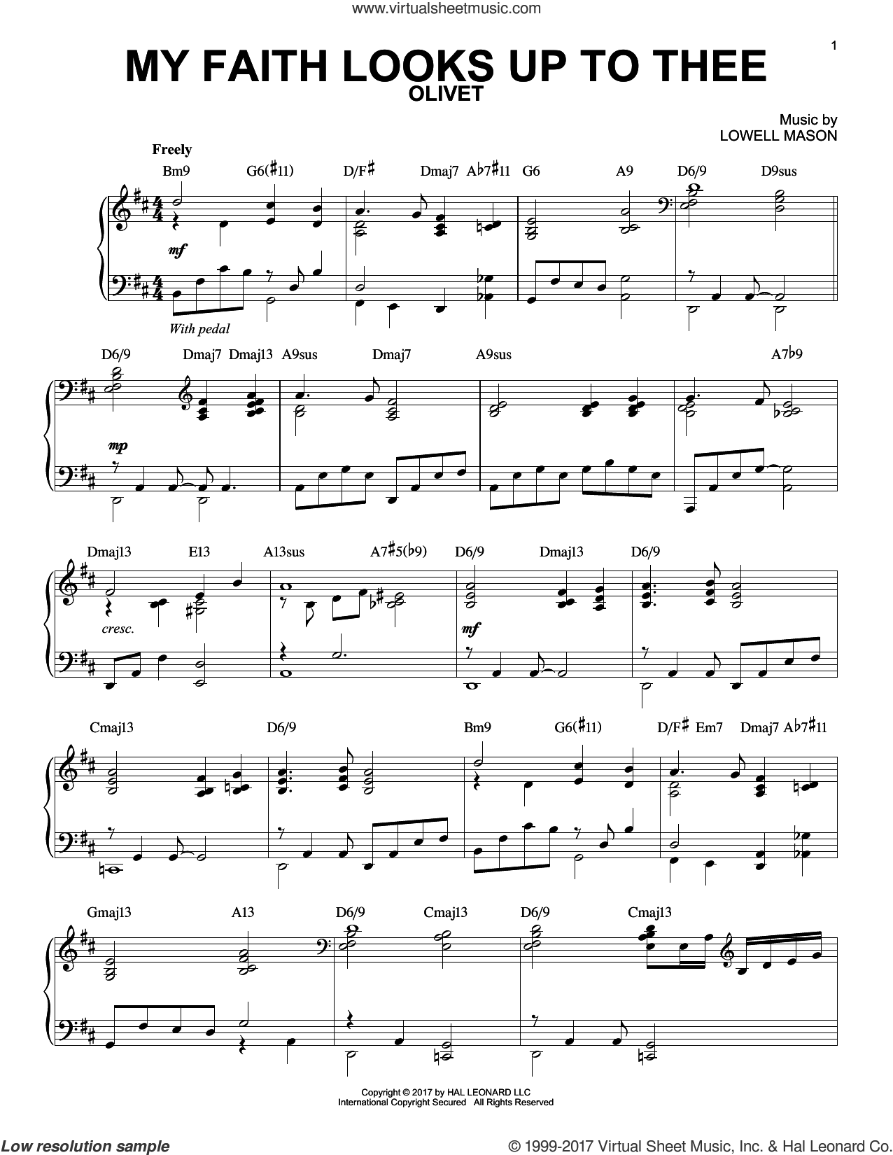 My Faith Looks Up To Thee, (intermediate) sheet music for piano solo by Lowell Mason and Ray Palmer, intermediate skill level
