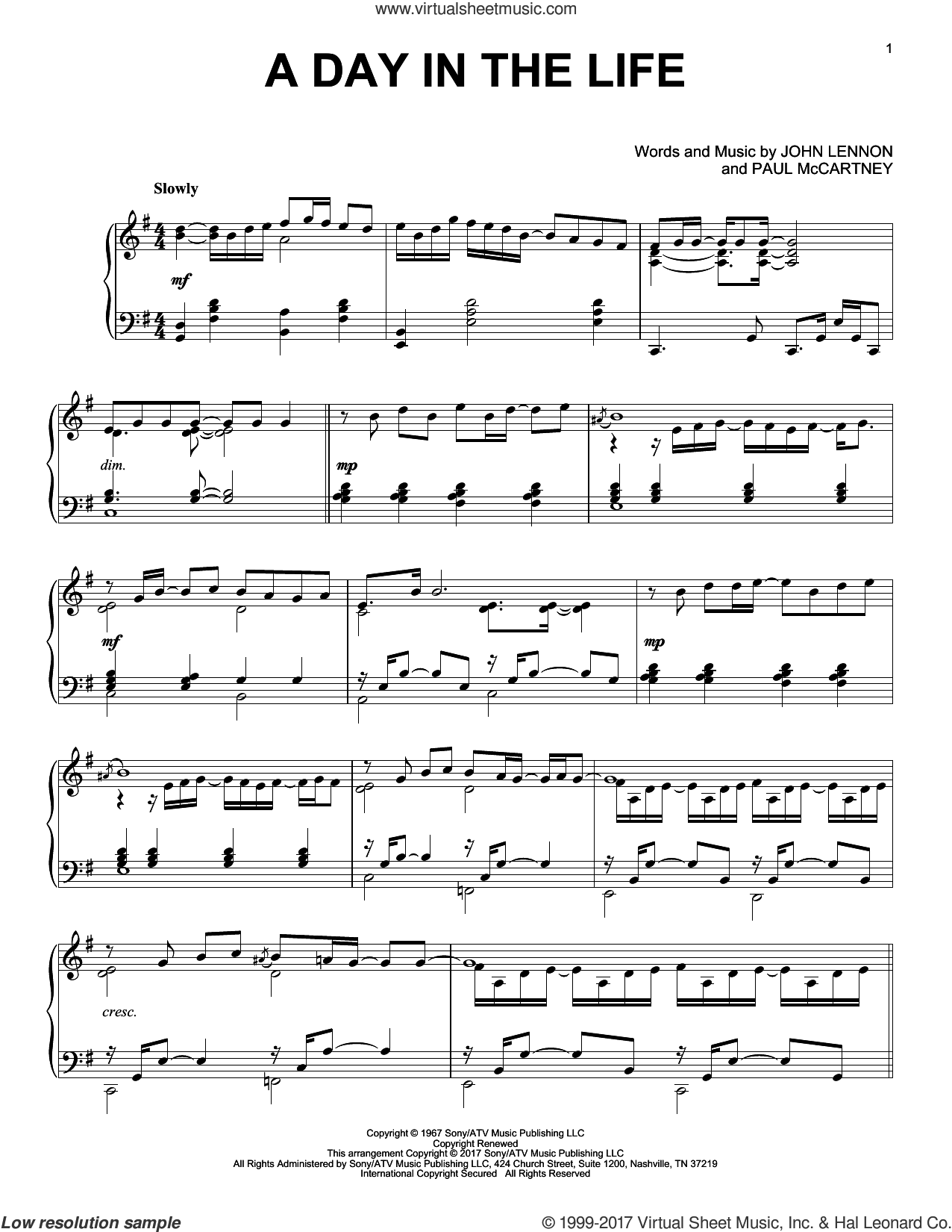 A Day In The Life sheet music for piano solo by The Beatles, John Lennon and Paul McCartney, intermediate skill level