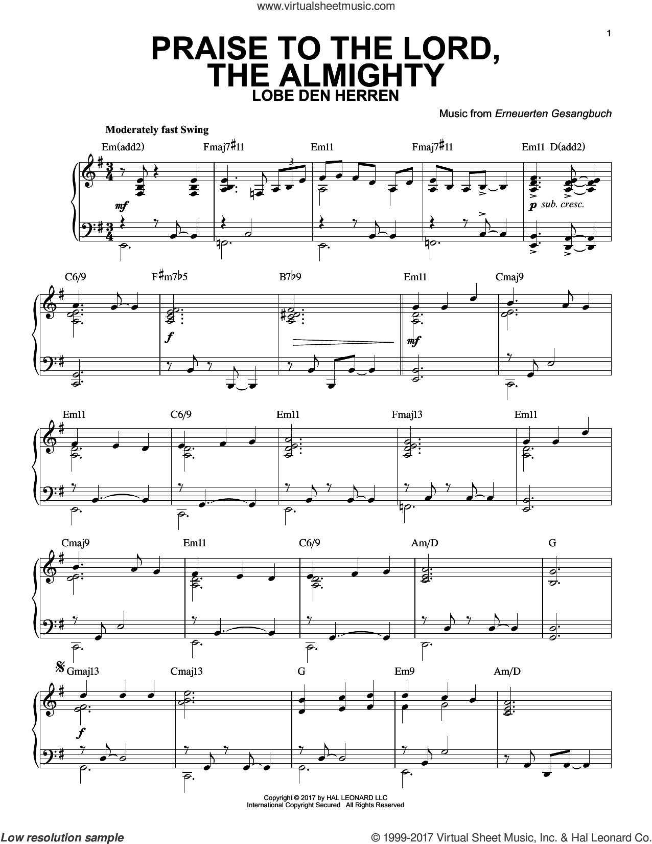 Praise To The Lord, The Almighty sheet music for piano solo by Erneuerten Gesangbuch and Catherine Winkworth. Score Image Preview.