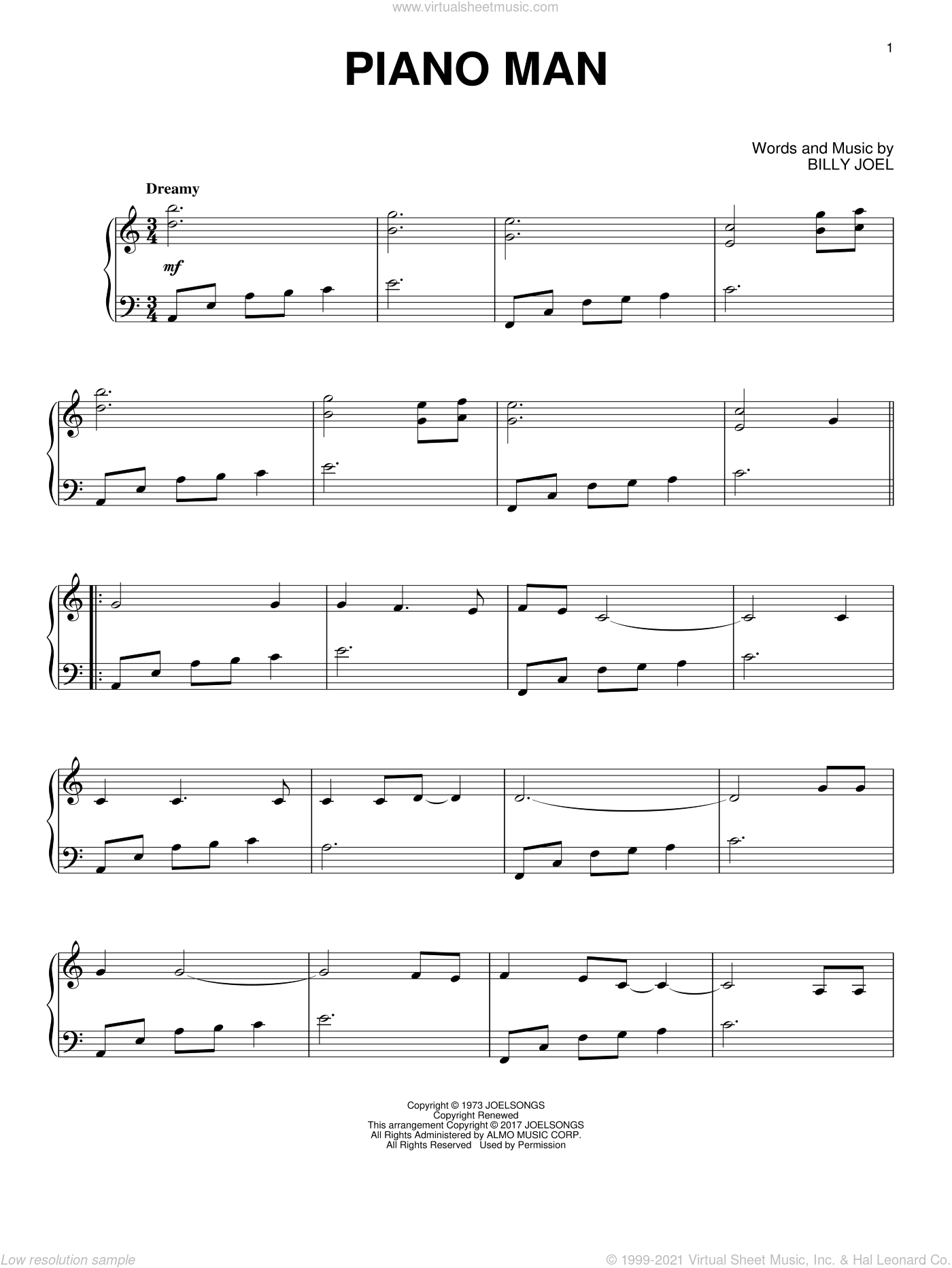 Piano Man sheet music for piano solo by Billy Joel, intermediate. Score Image Preview.